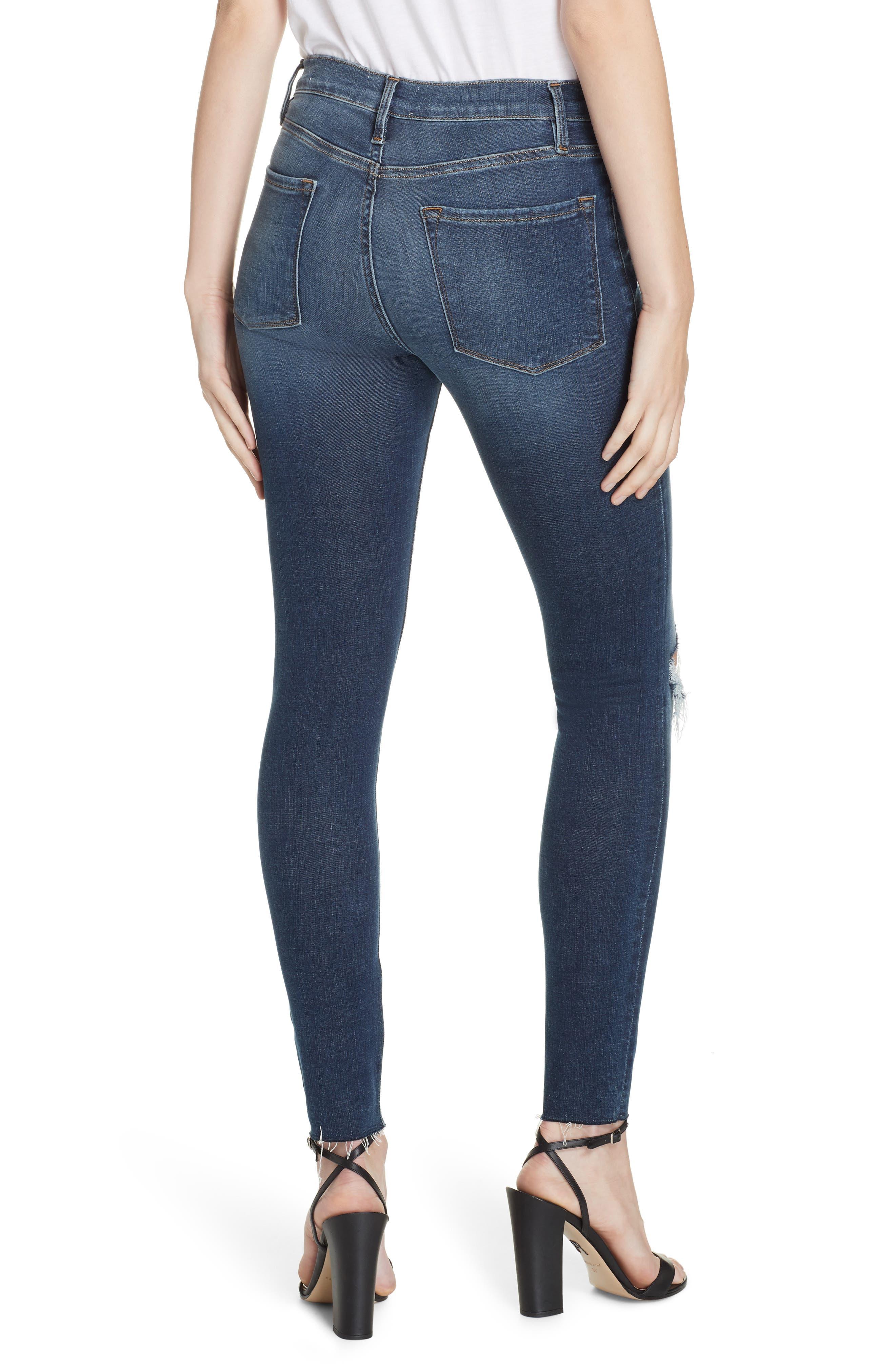 Le Skinny de Jeanne Ripped Raw Hem Ankle Jeans,                             Alternate thumbnail 2, color,                             JOLIE