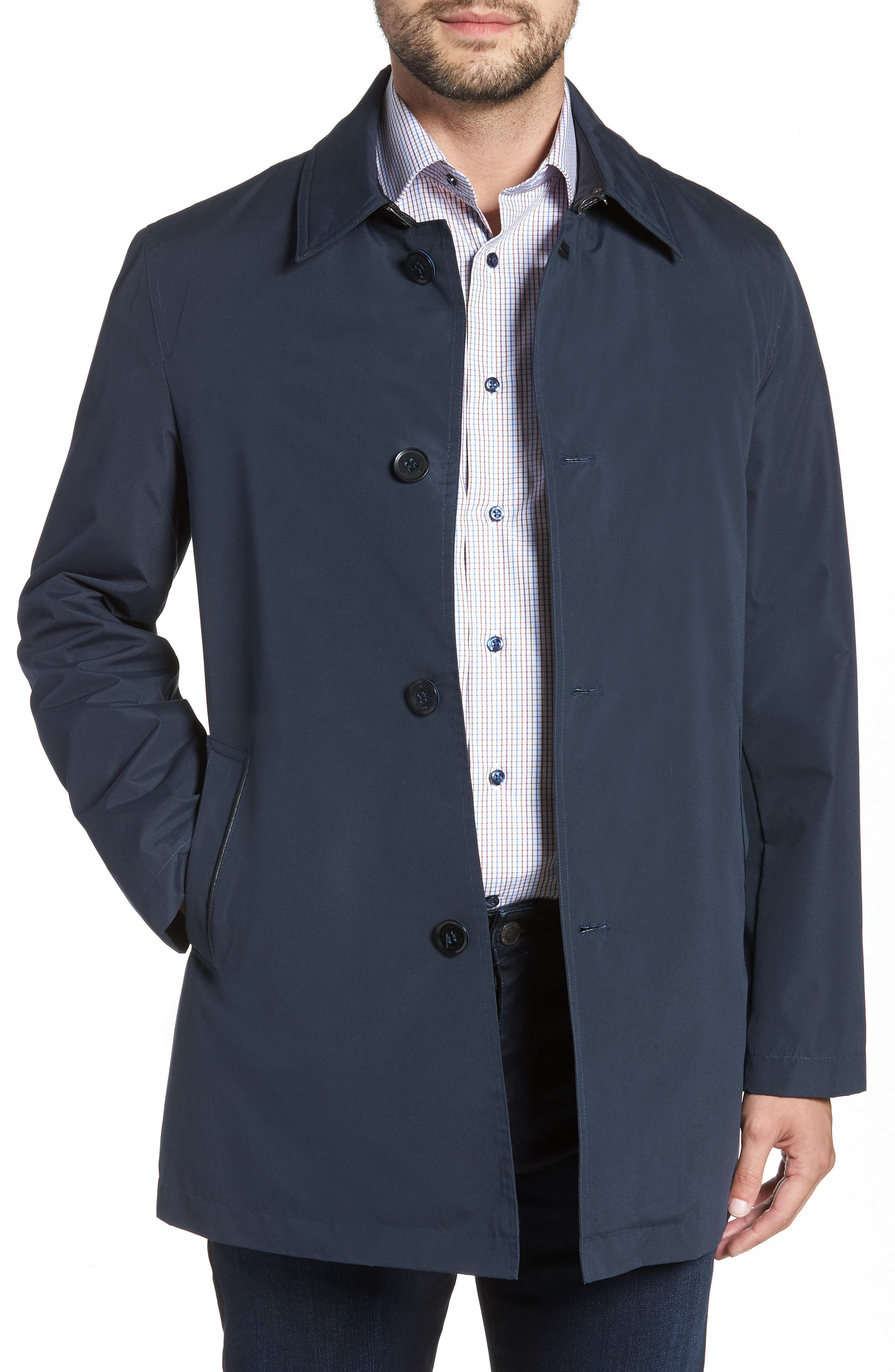 Cole Haan Water Resistant Car Coat,                             Main thumbnail 1, color,                             NAVY