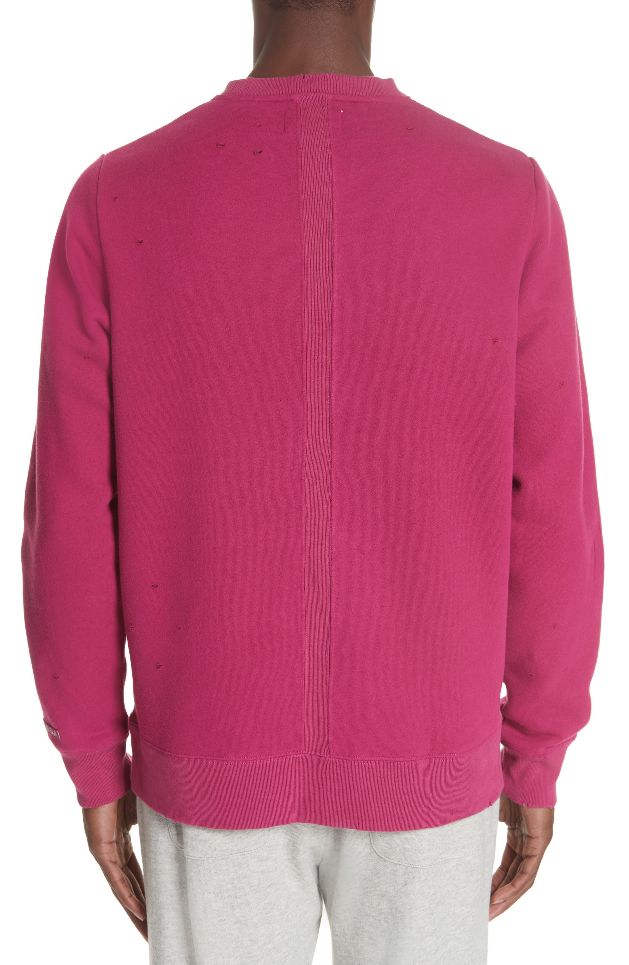 Distressed Crewneck Sweatshirt,                             Alternate thumbnail 2, color,                             RASBERRY