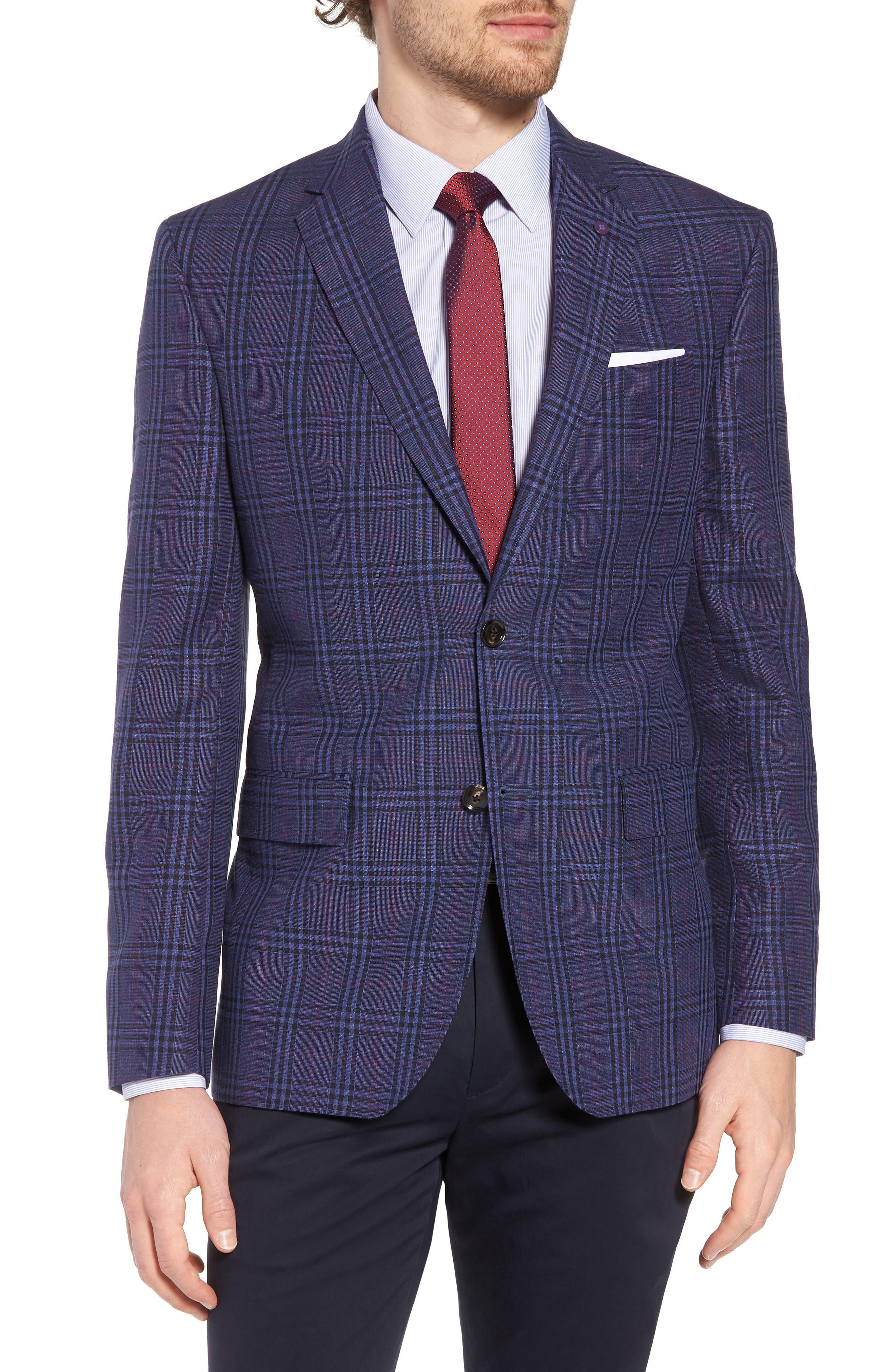 Jay Trim Fit Plaid Wool & Linen Sport Coat,                             Main thumbnail 1, color,                             400
