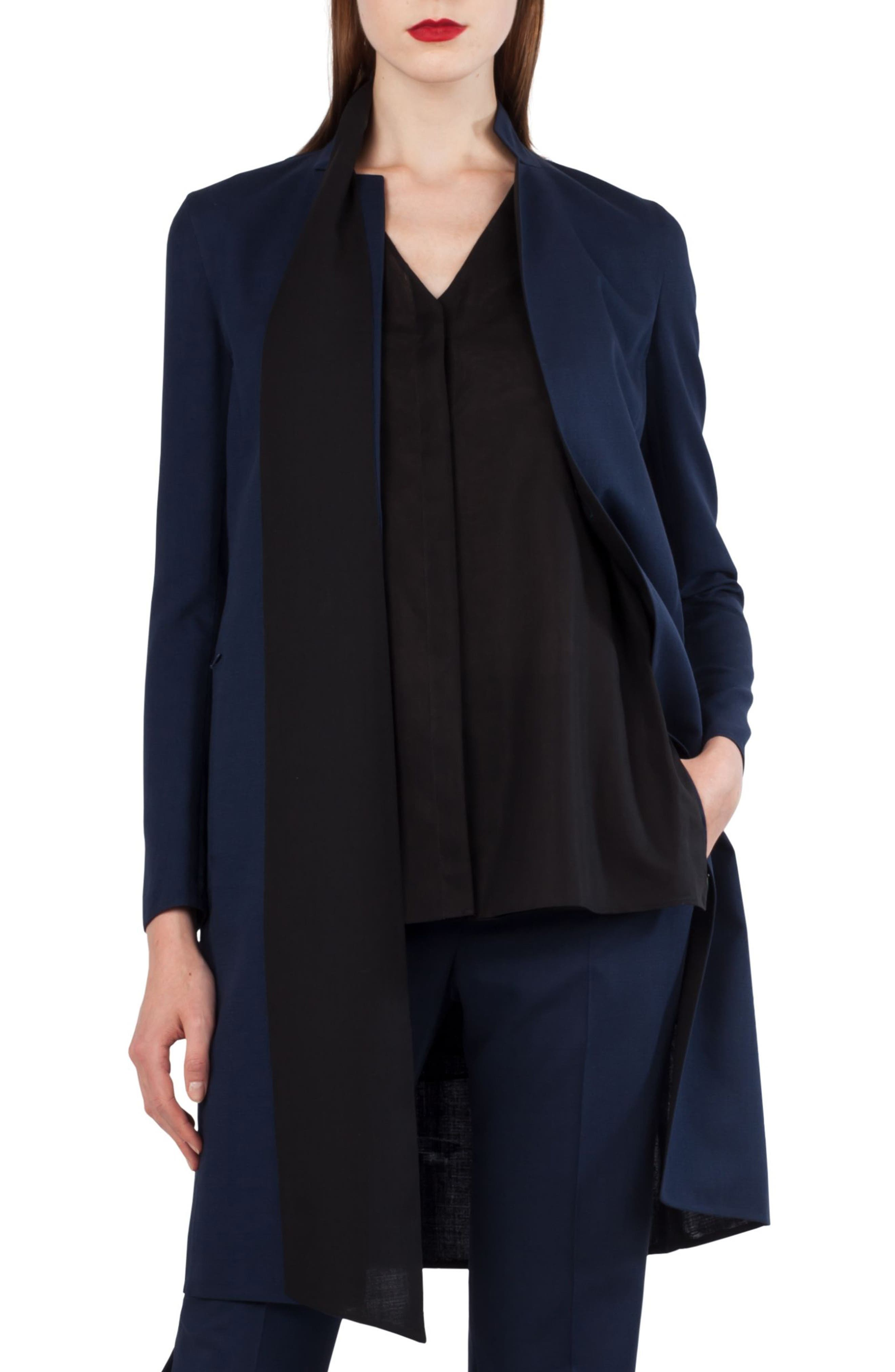 Reversible Stretch Wool & Silk Coat,                         Main,                         color, DENIM SCHWARZ