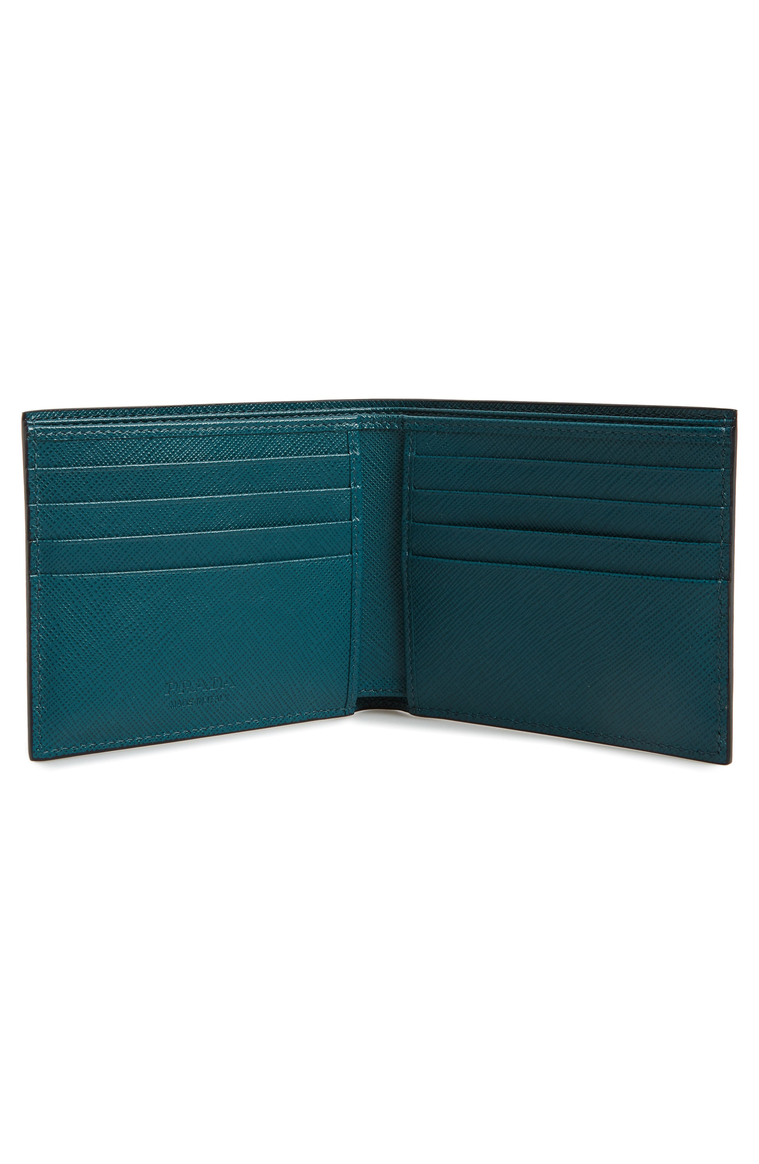 Bicolor Leather Wallet,                             Alternate thumbnail 2, color,                             BLUE