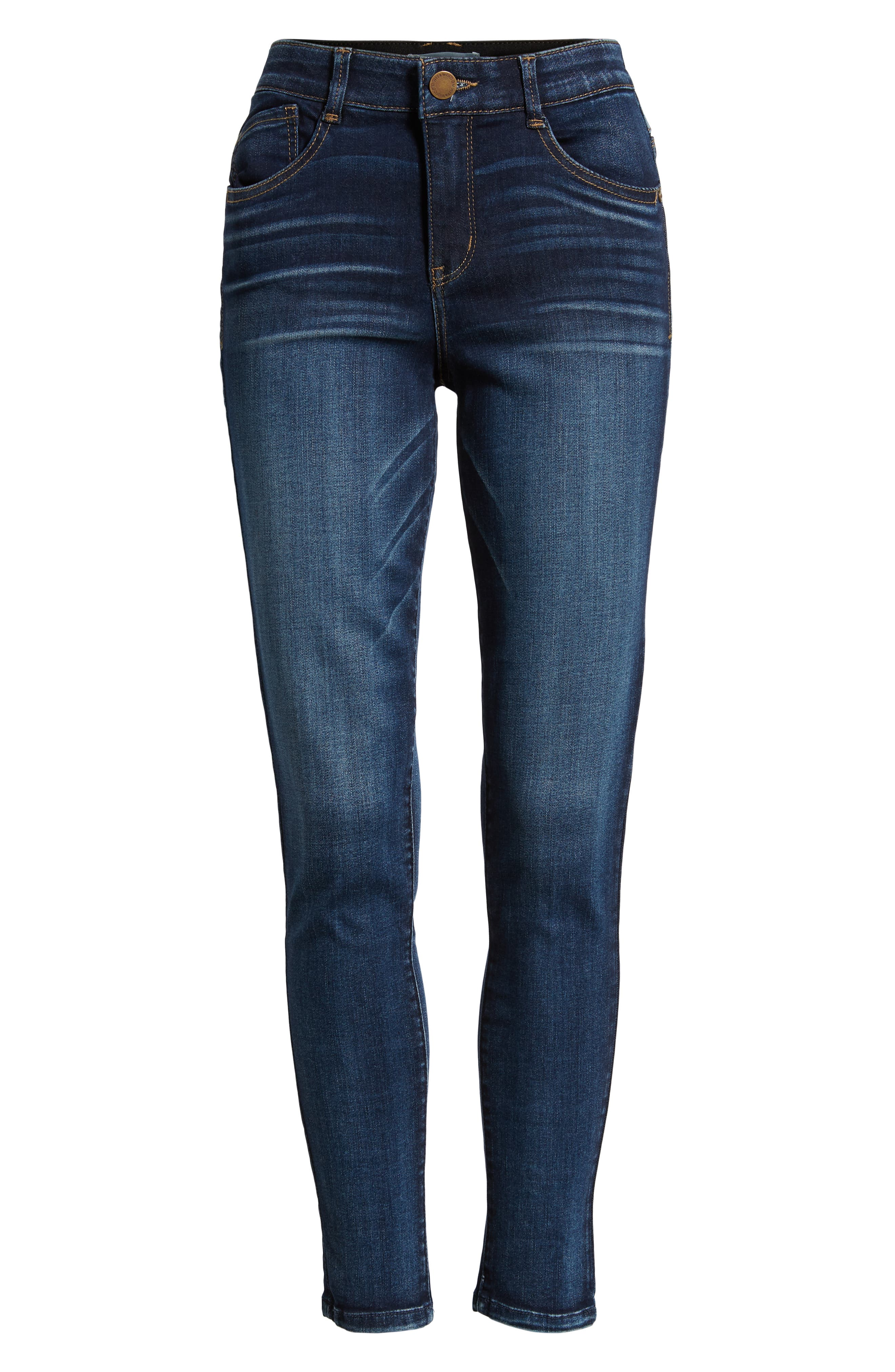 Luxe Touch High Waist Skinny Ankle Jeans,                             Alternate thumbnail 7, color,                             BLUE