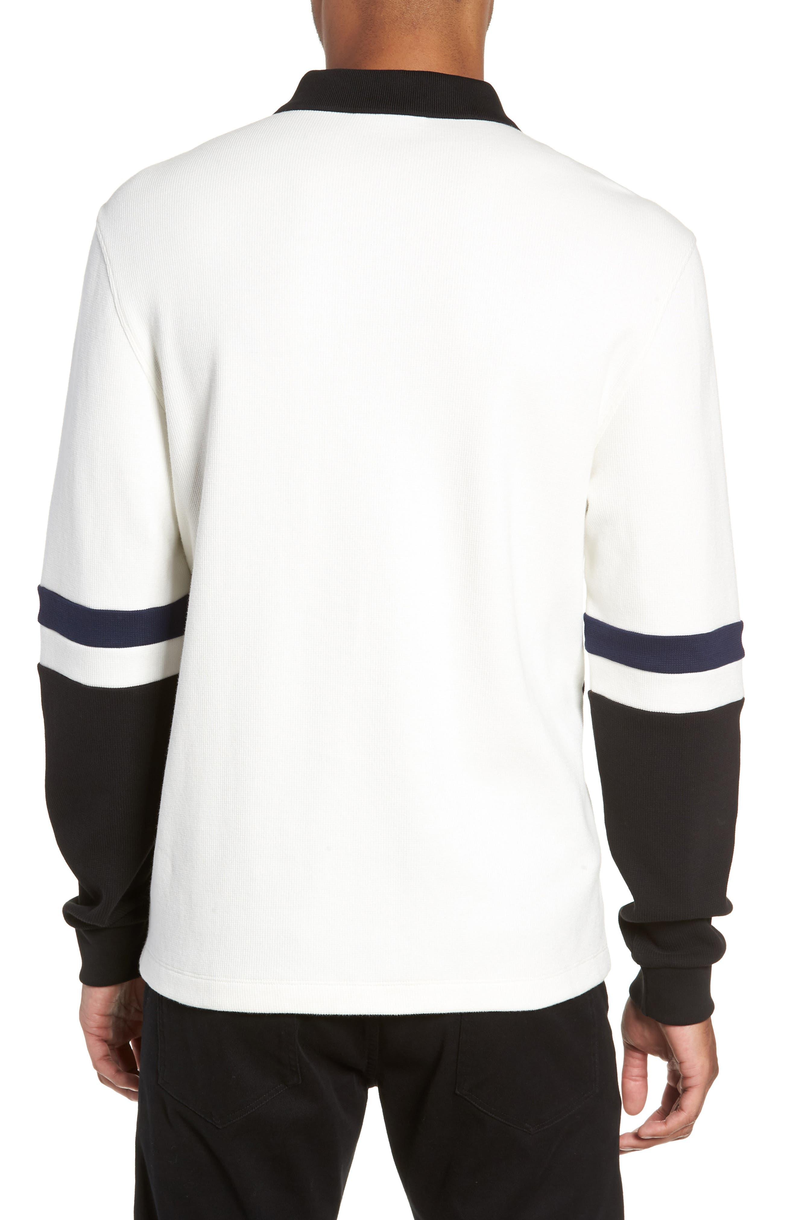 Colorblock Long Sleeve Polo,                             Alternate thumbnail 2, color,                             SNOW WHITE