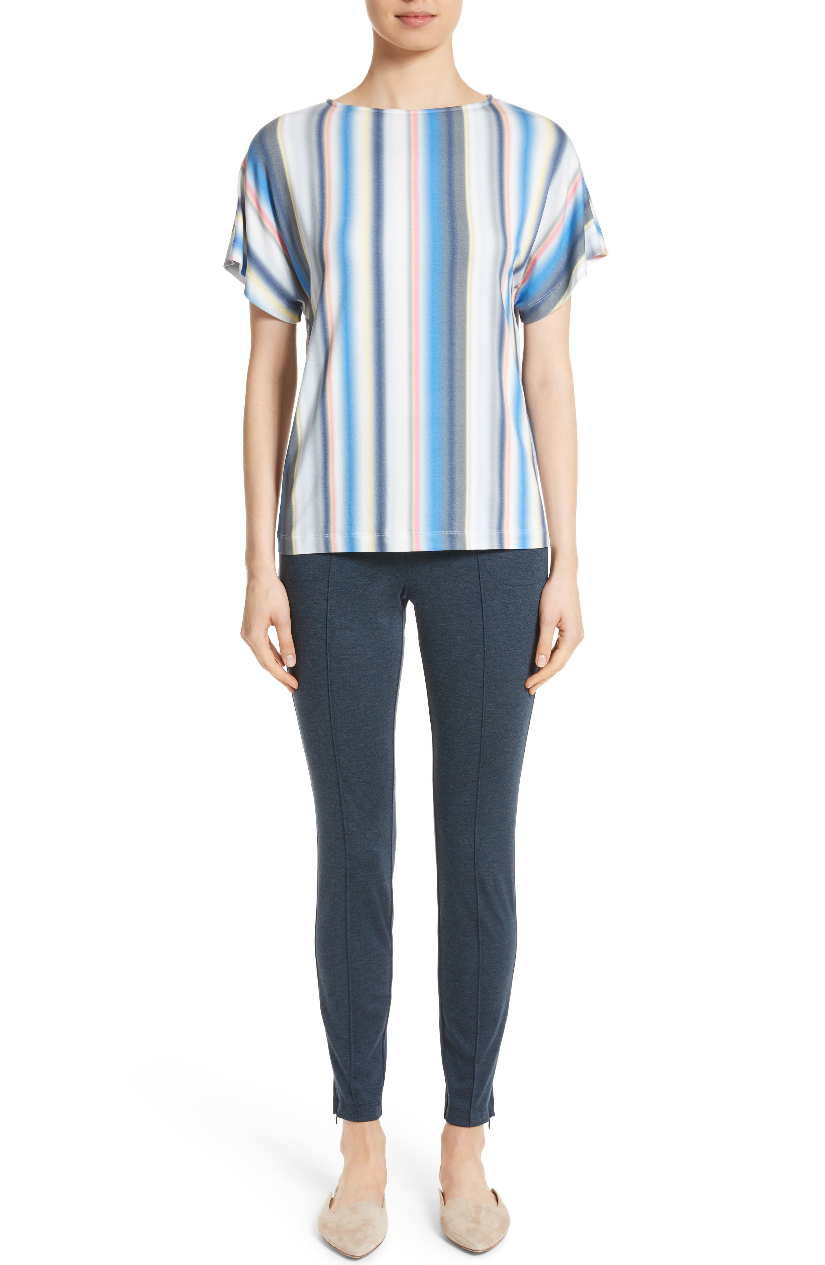 Blurred Stripe Jersey Top,                             Alternate thumbnail 7, color,                             420
