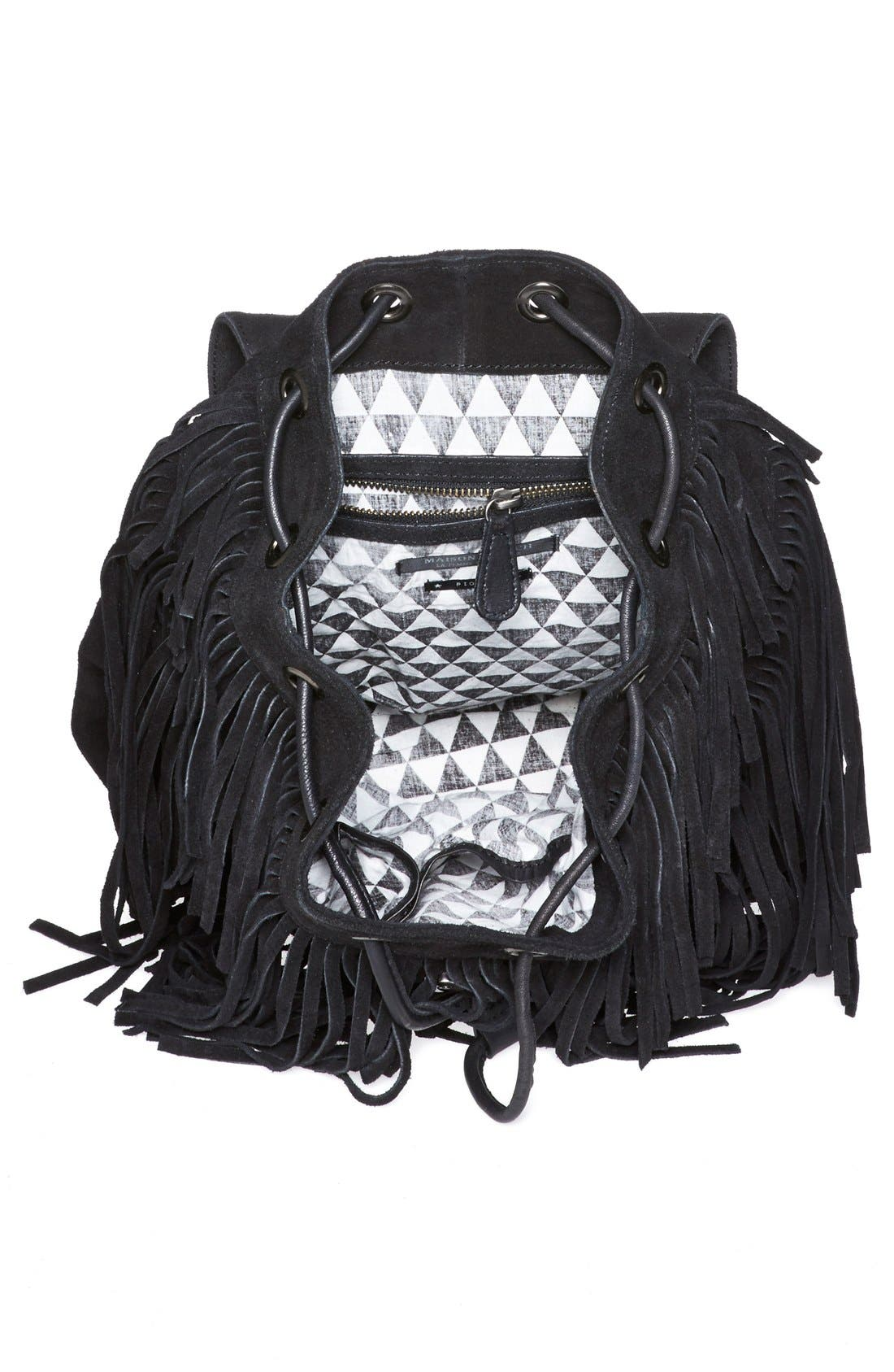 Fringed Suede Backpack,                             Alternate thumbnail 4, color,                             001