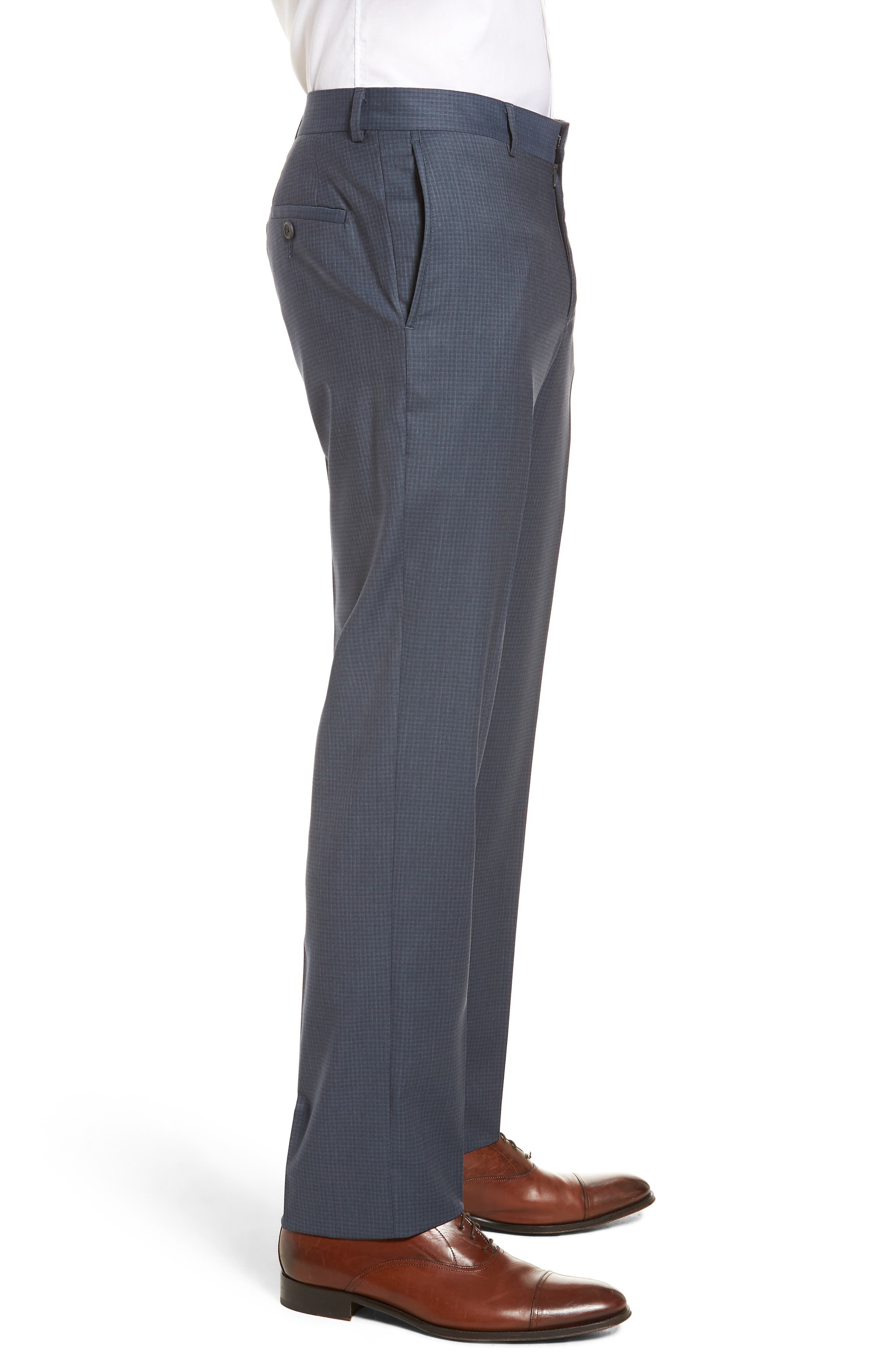 Tech-Smart Check Flat Front Stretch Wool Pants,                             Alternate thumbnail 4, color,                             030