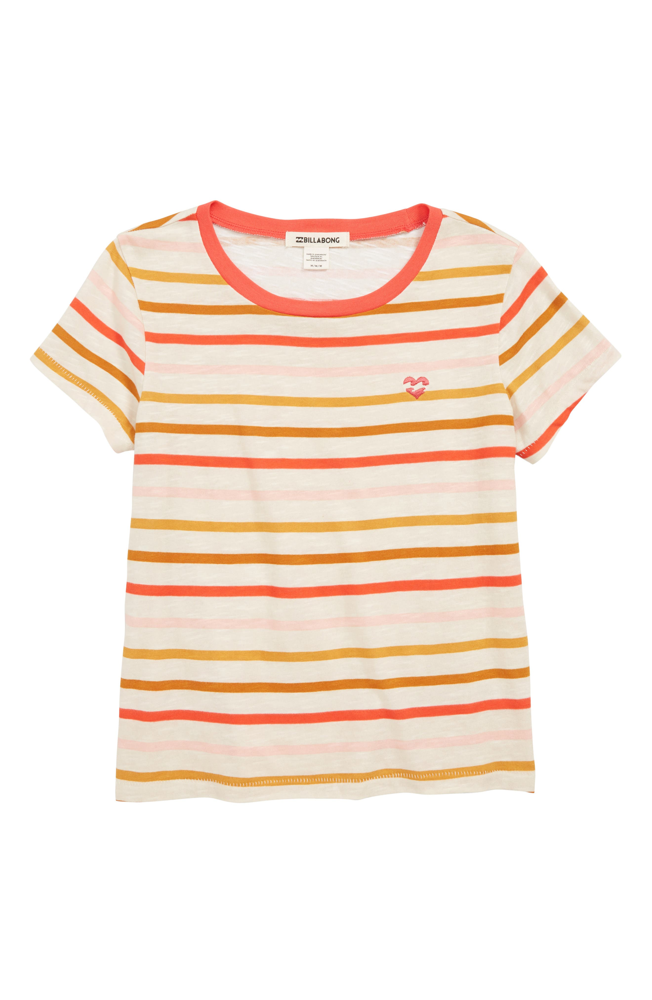 Girls Billabong Soul Babe Stripe Tee Size M (1012)  Red