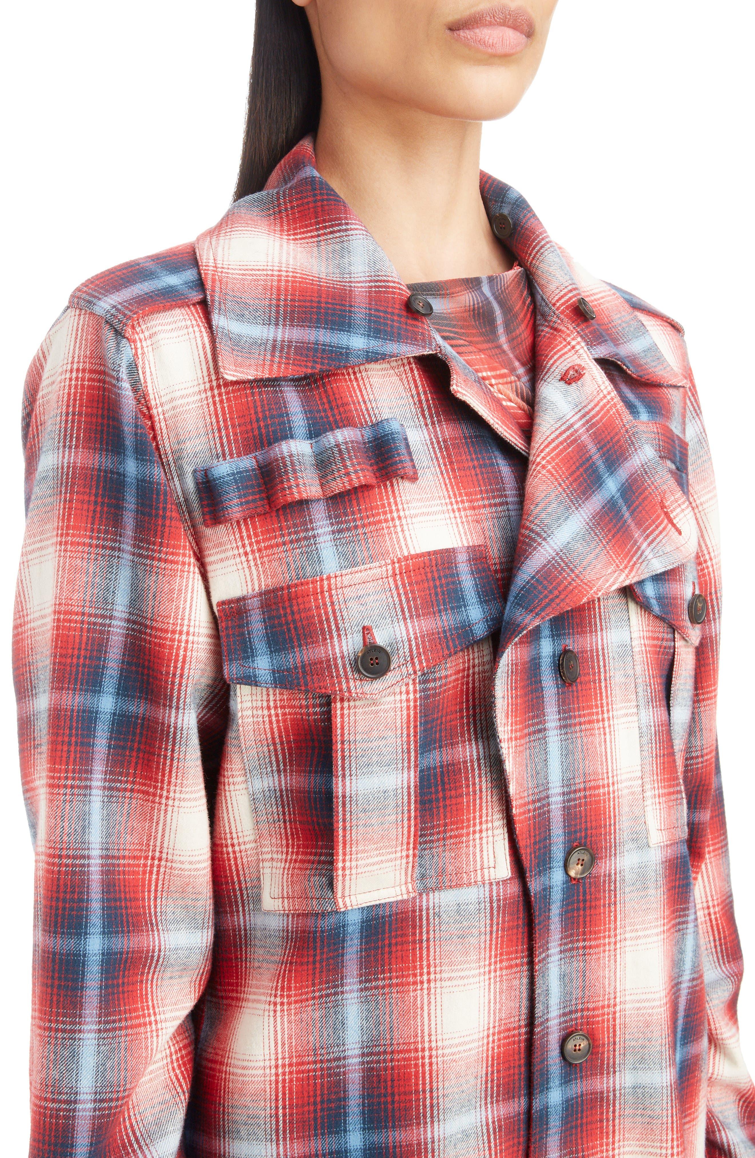 Removable Collar Plaid Cotton Jacket,                             Alternate thumbnail 2, color,                             ROUGE