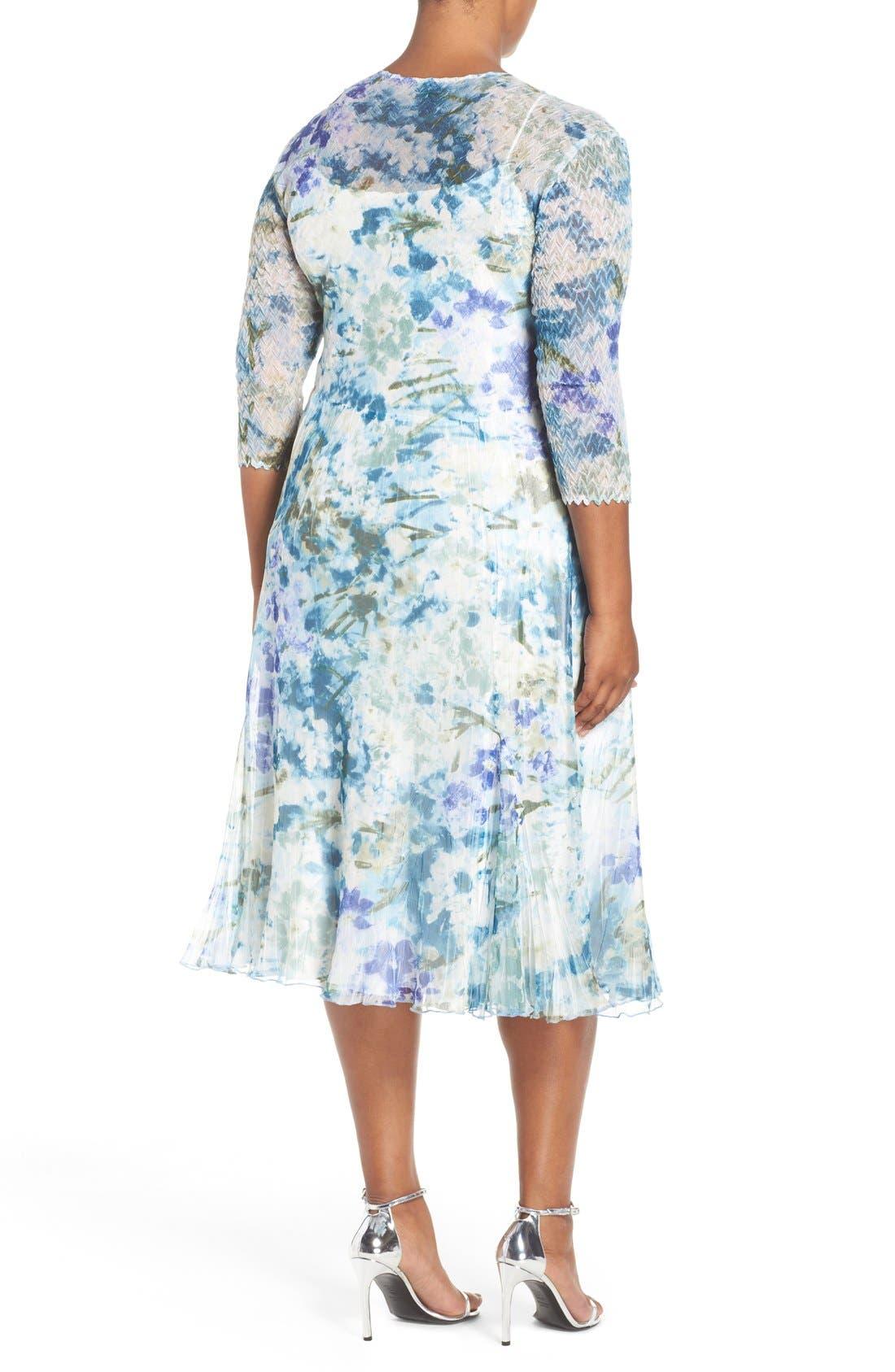 Print Three-Quarter Sleeve Chiffon A-Line Dress,                             Alternate thumbnail 2, color,