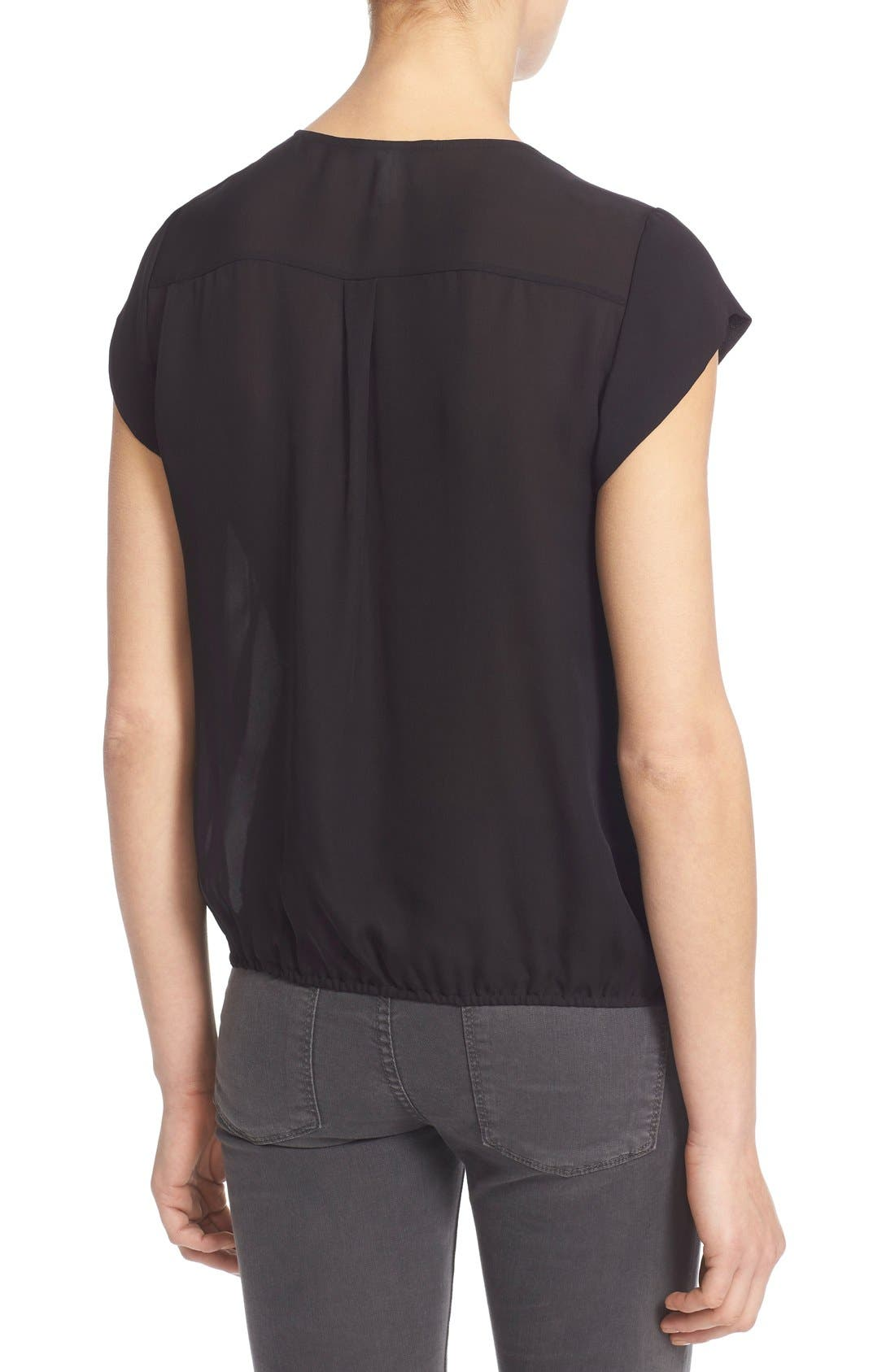 'Marcher' Pleated Silk Top,                             Alternate thumbnail 4, color,                             002