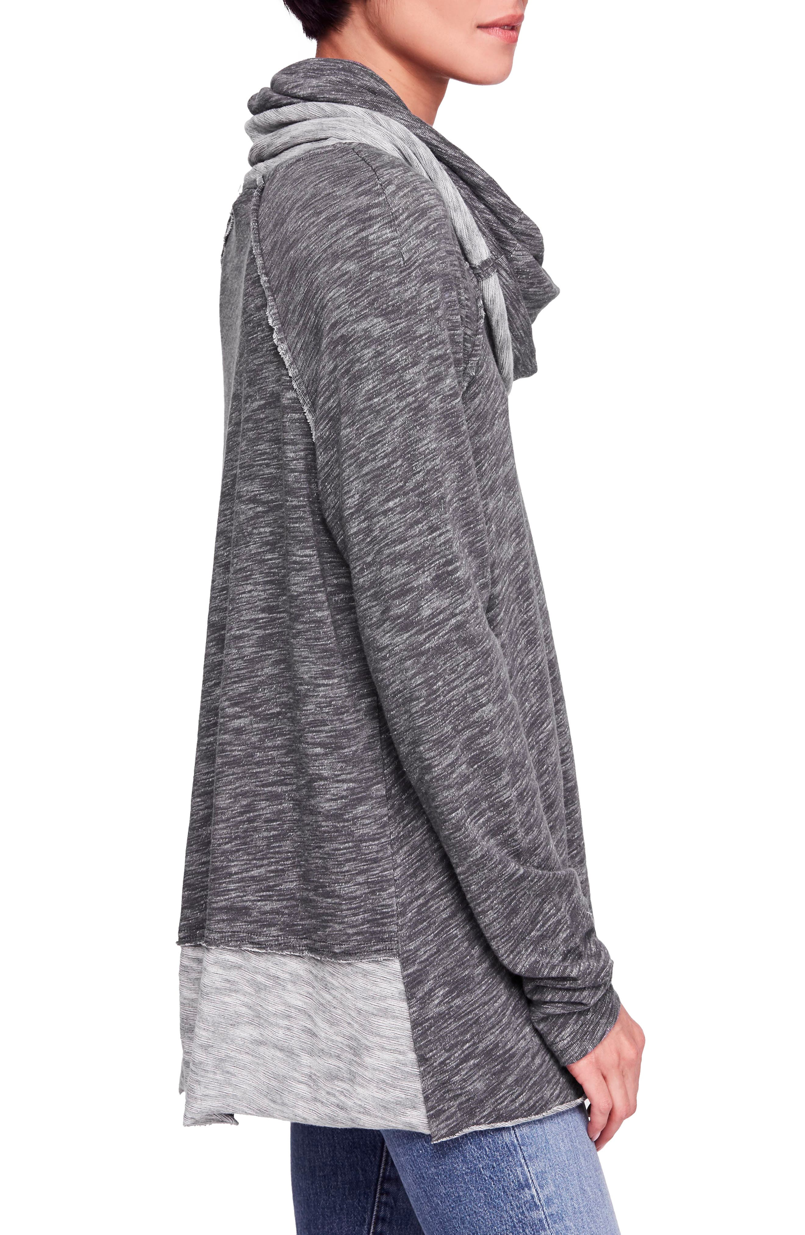 Cocoon Cowl Neck Top,                             Alternate thumbnail 3, color,                             CHARCOAL