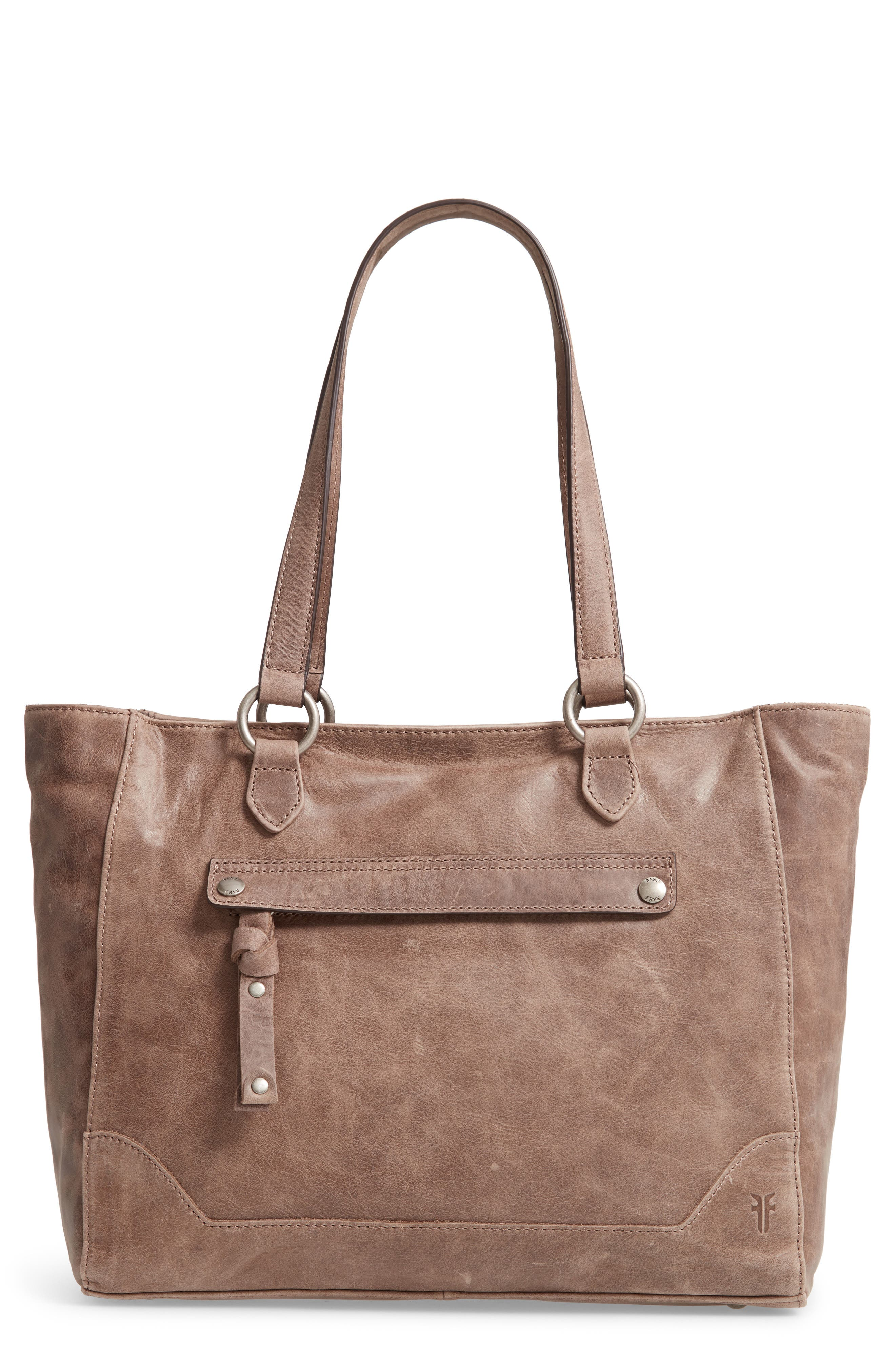 Melissa Zip Leather Tote,                         Main,                         color, GREY