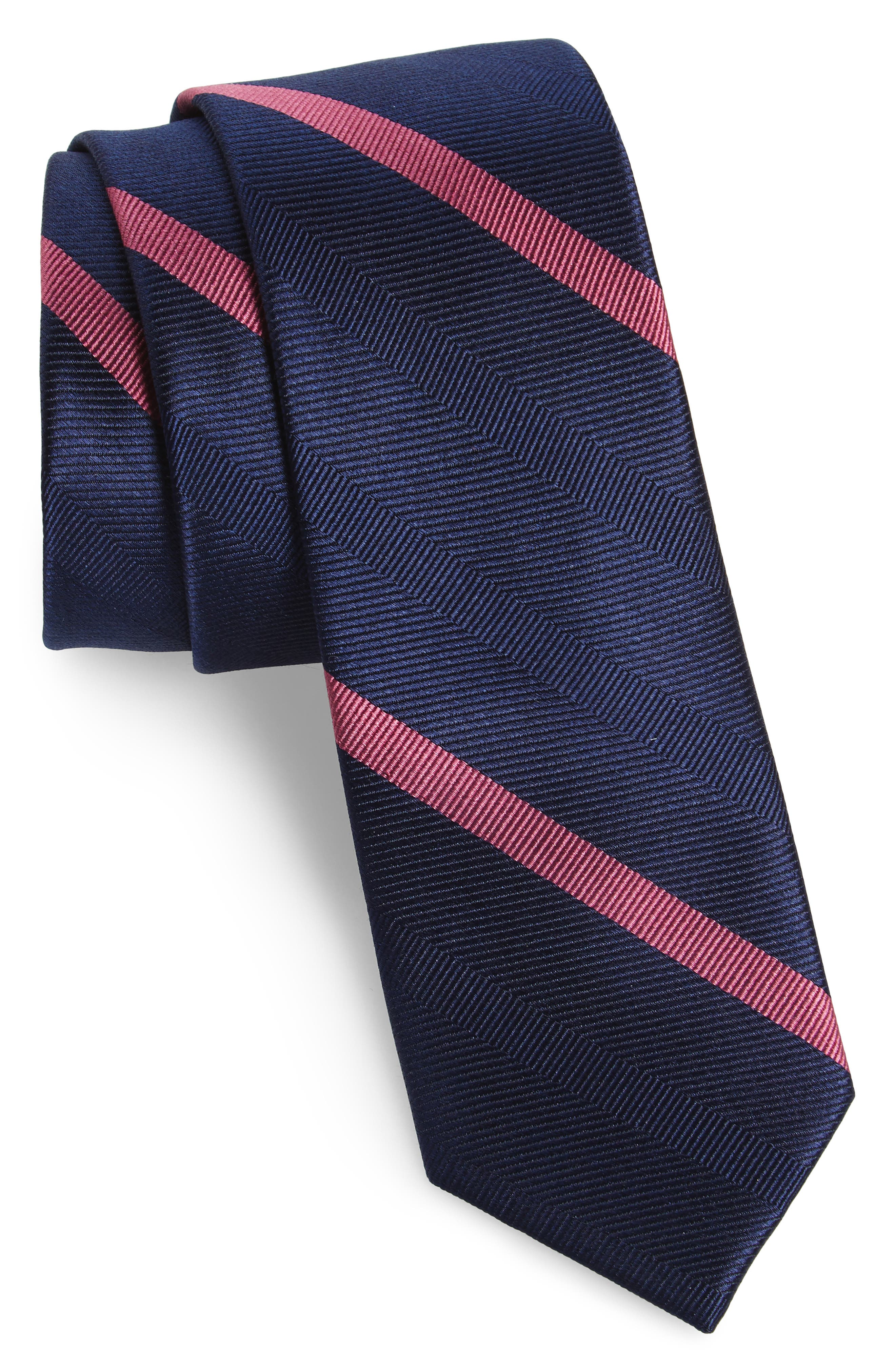 Goal Line Stripe Silk Skinny Tie,                             Main thumbnail 1, color,                             410