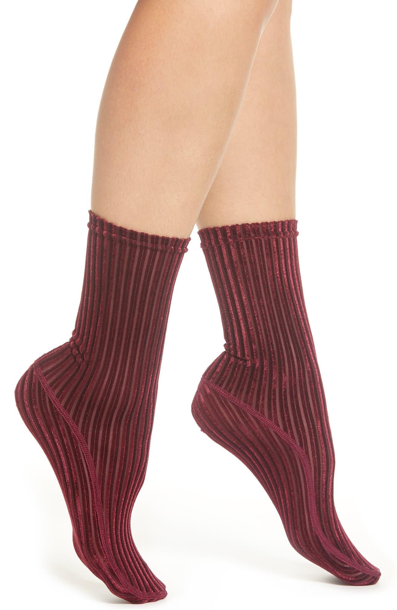 Velvet Ribbed Socks,                         Main,                         color, 601