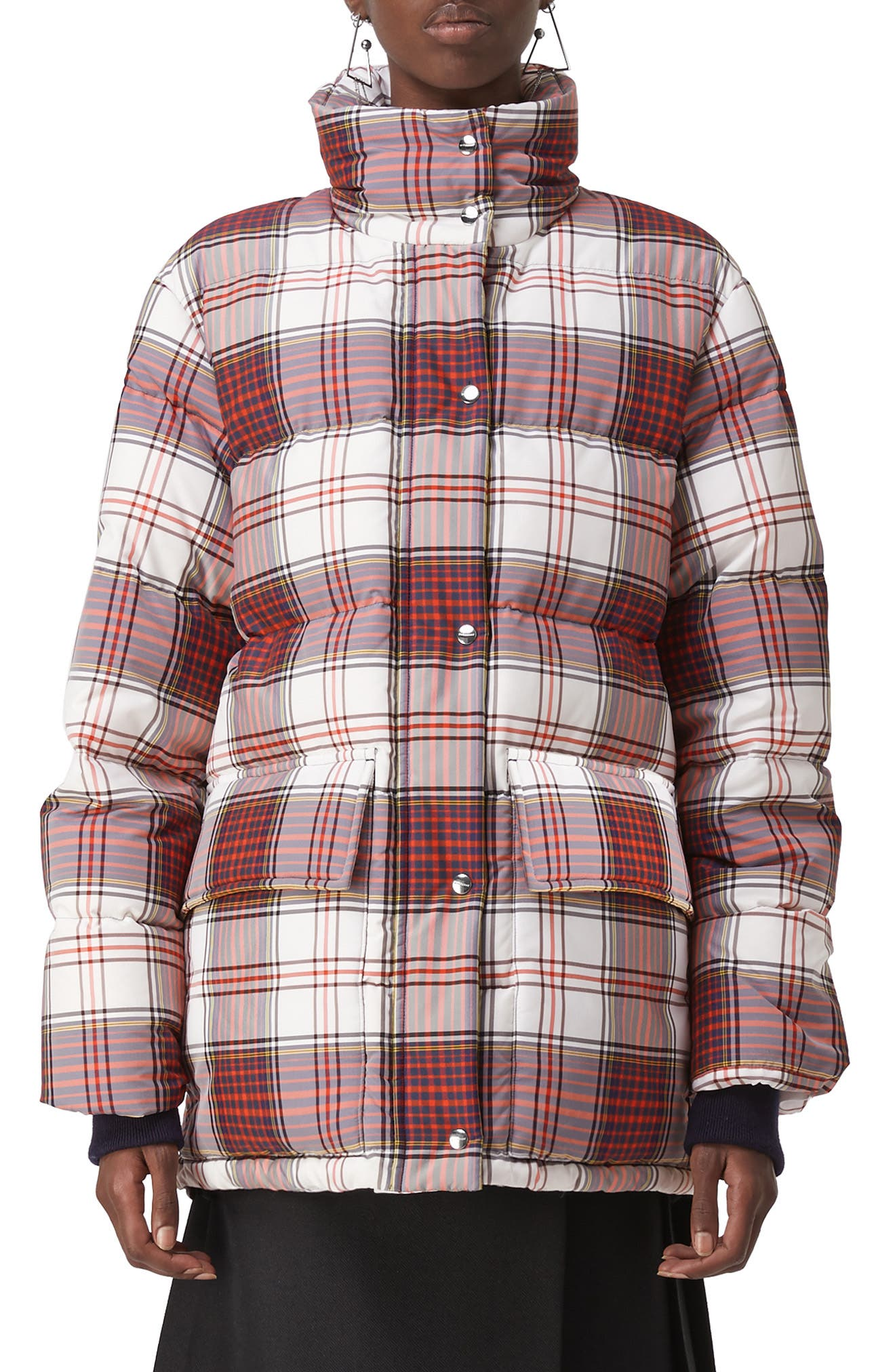 Selsey Check Print Down Coat, Main, color, OFF WHITE CHK