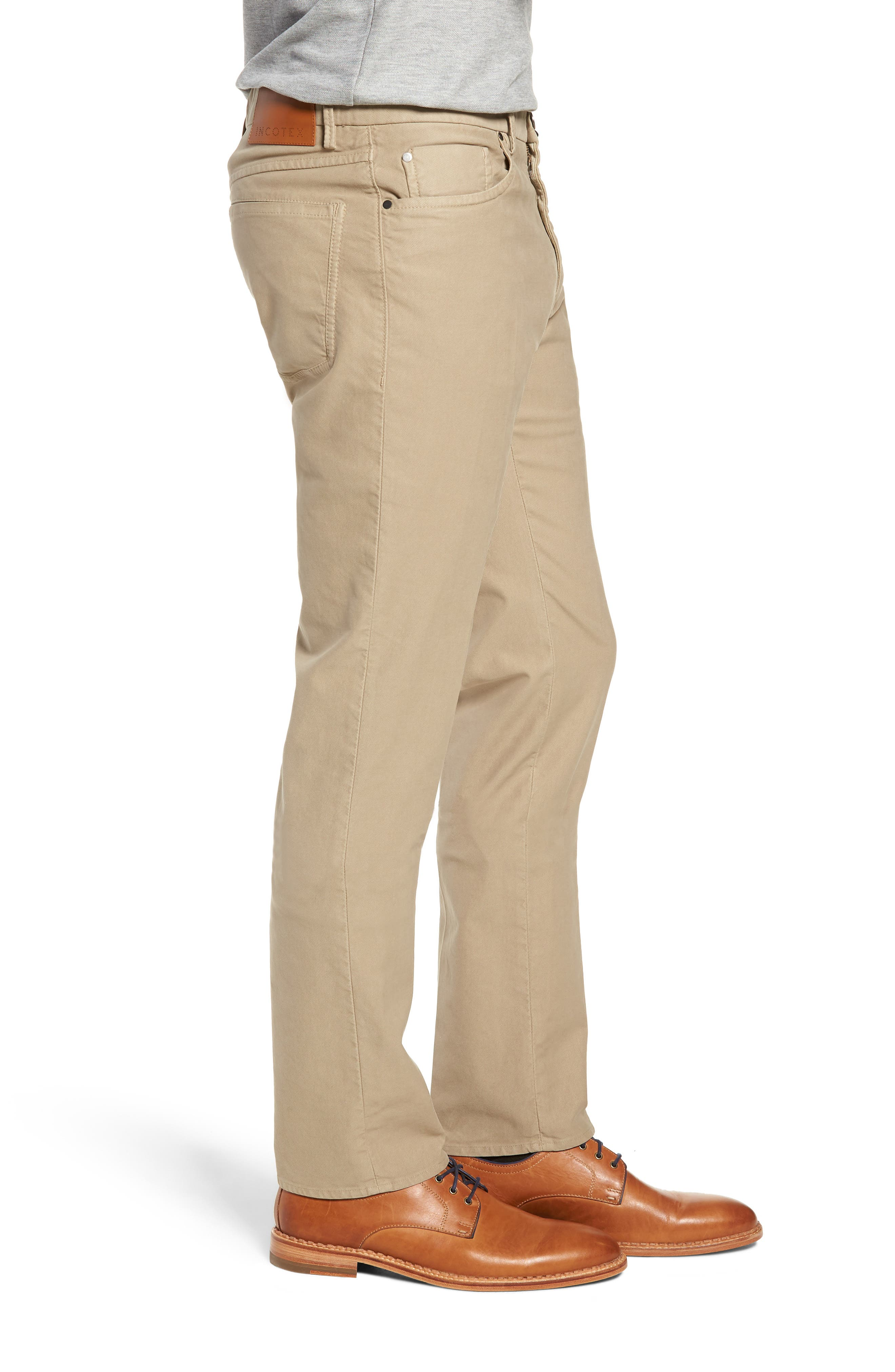 Five-Pocket Solid Stretch Cotton Trousers,                             Alternate thumbnail 3, color,                             STONE