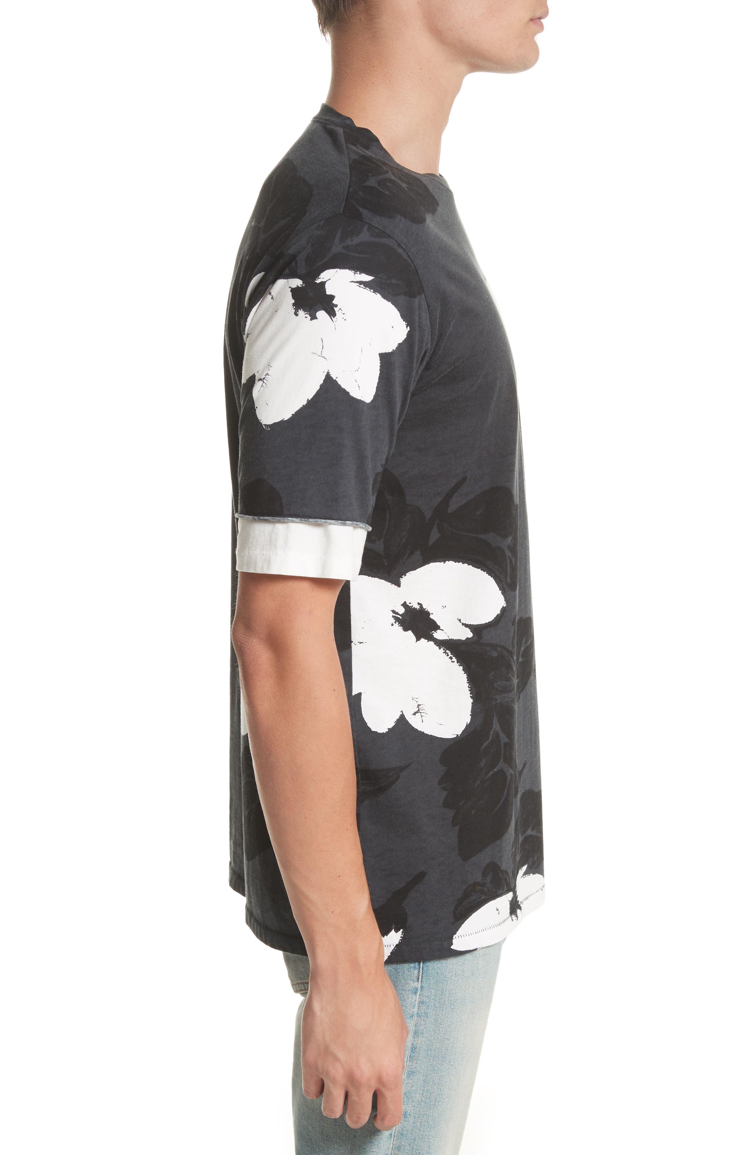 Double Sleeve Floral T-Shirt,                             Alternate thumbnail 3, color,                             SOFT BLACK