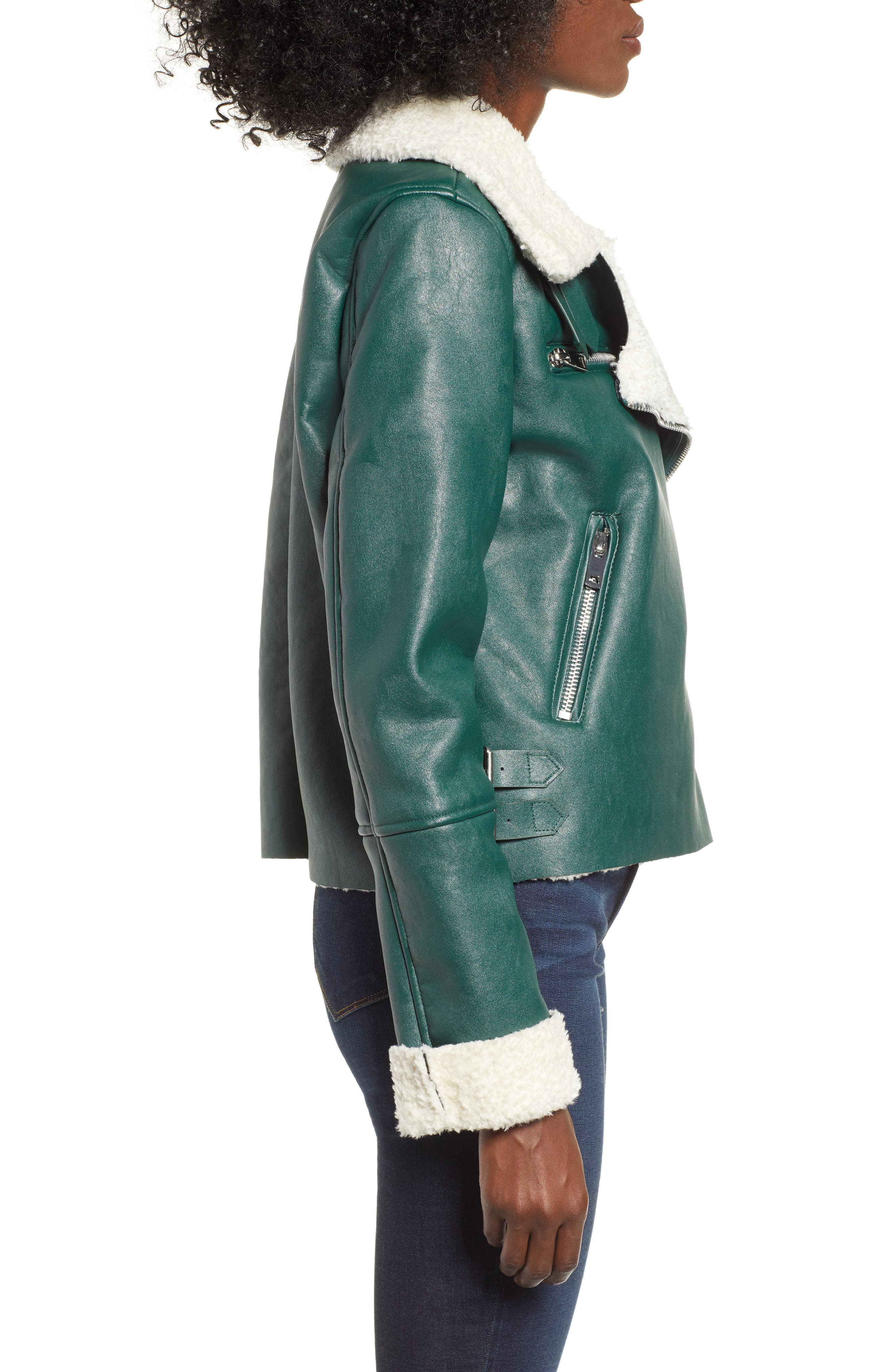 Moto Jacket with Faux Shearling Lining,                             Alternate thumbnail 3, color,                             OUT OF THE WOODS