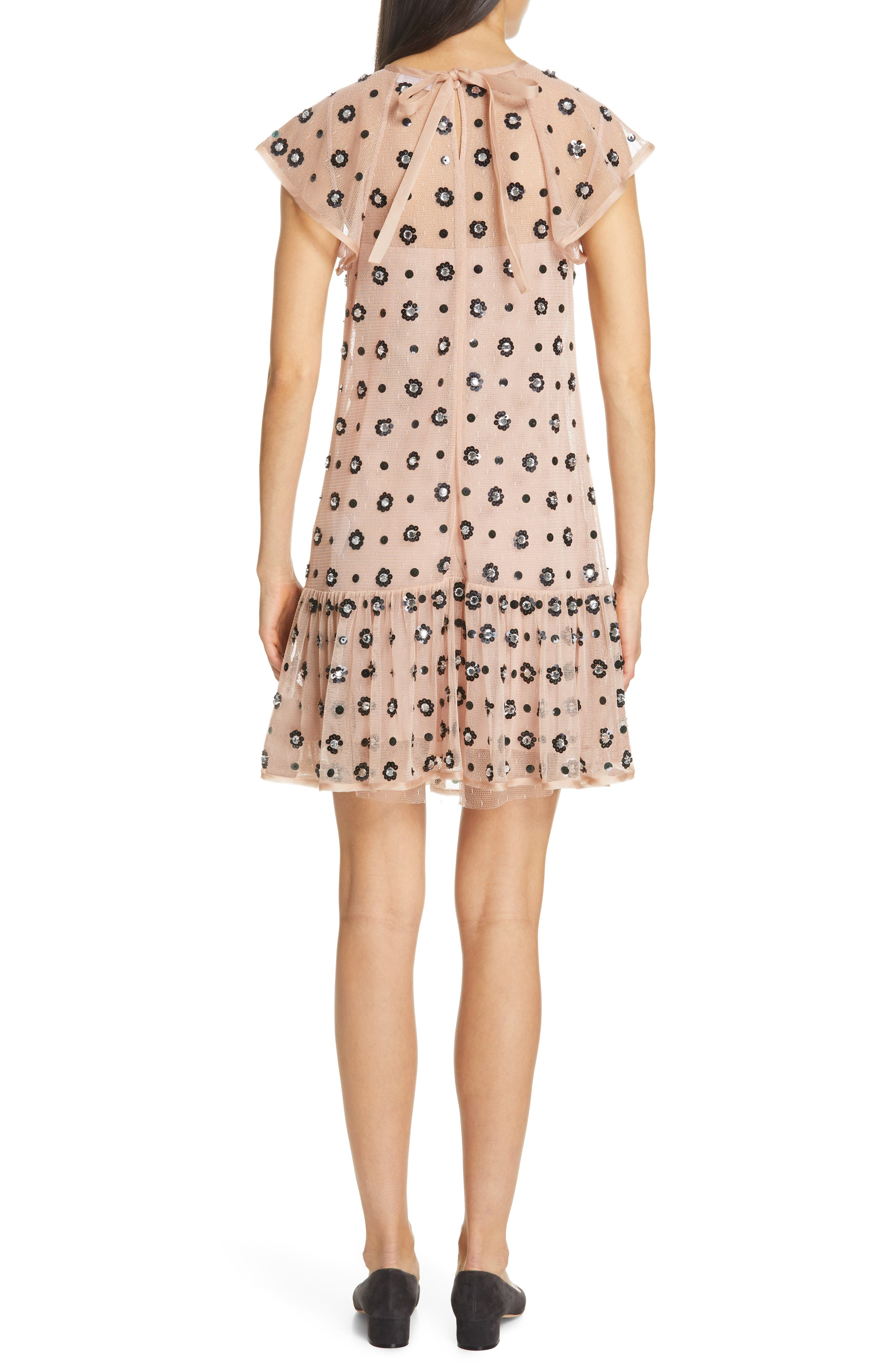 RED VALENTINO,                             Floral Sequin Drop Waist Dress,                             Alternate thumbnail 2, color,                             NUDO