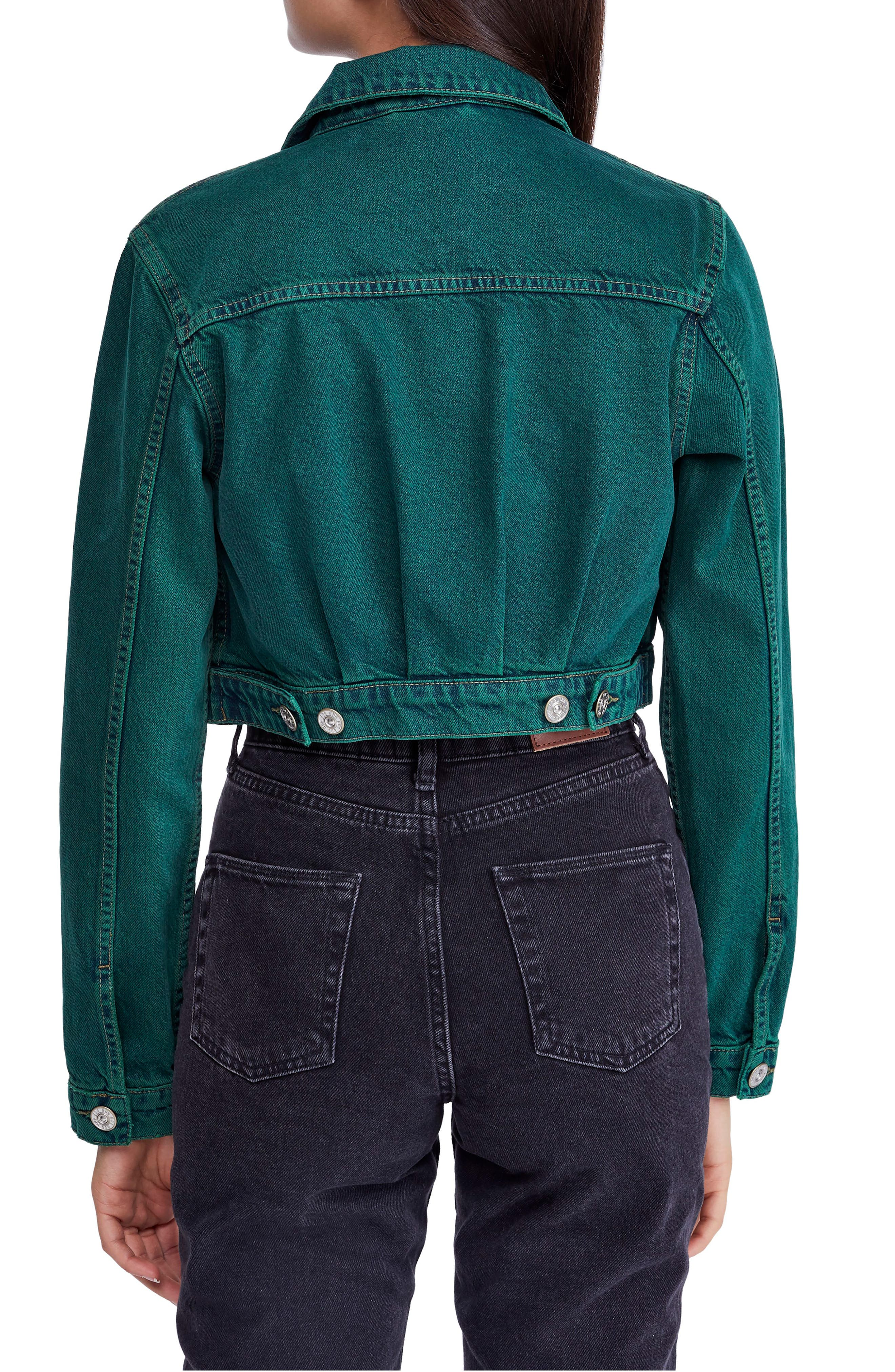 Urban Outfitters Overdyed Crop Denim Jacket,                             Alternate thumbnail 2, color,                             300