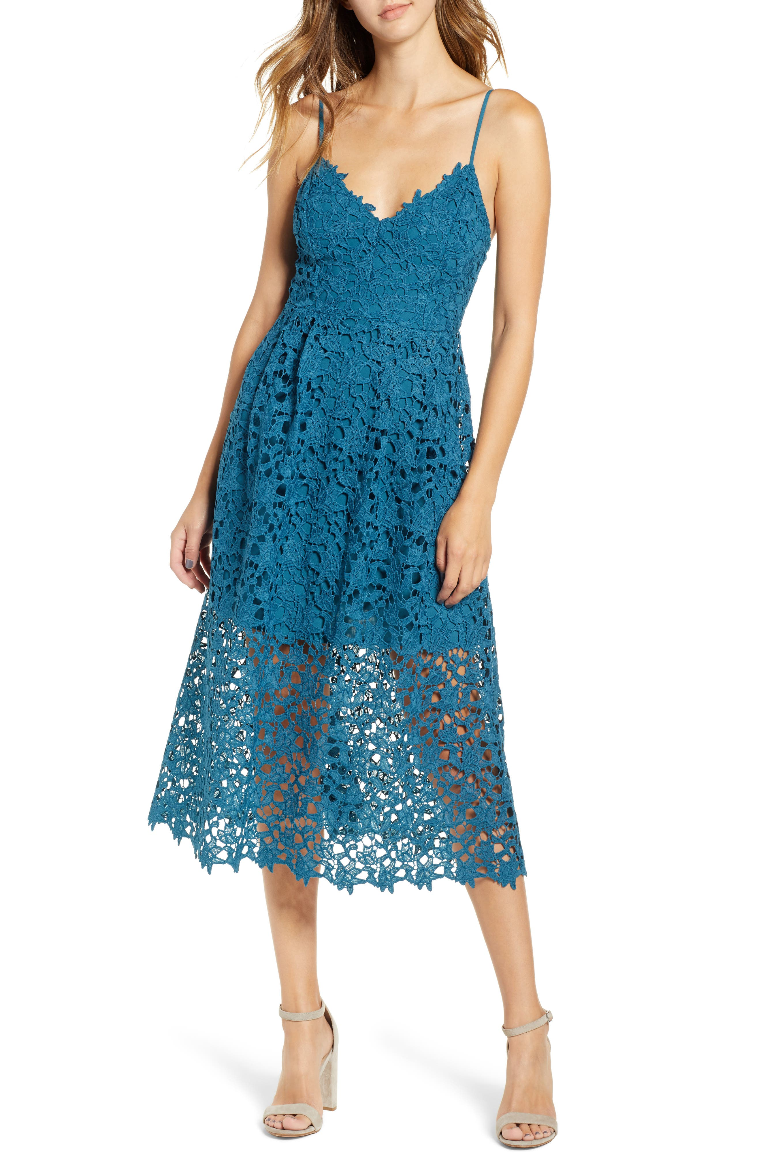Astr The Label Lace Midi Dress, Blue/green