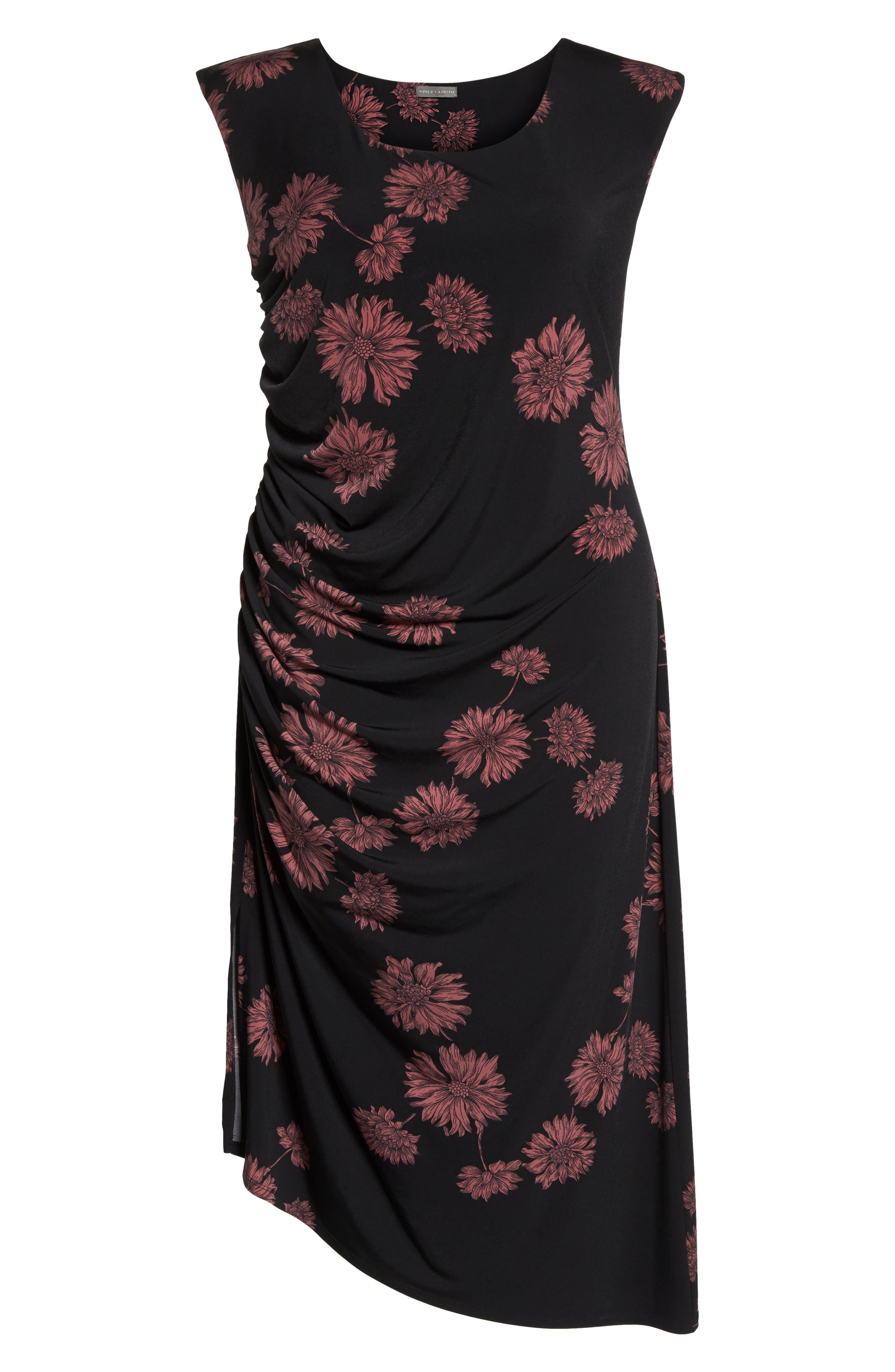 Chateau Floral Side Ruched Body-Con Dress,                             Alternate thumbnail 7, color,                             RICH BLACK