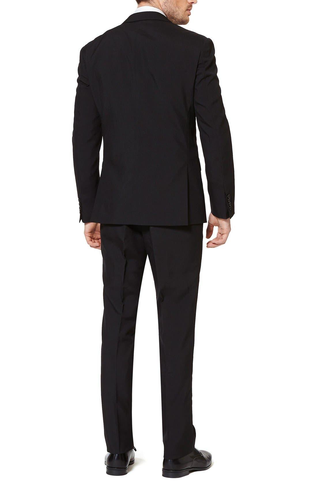 'Black Knight' Trim Fit Two-Piece Suit with Tie,                             Alternate thumbnail 2, color,                             001