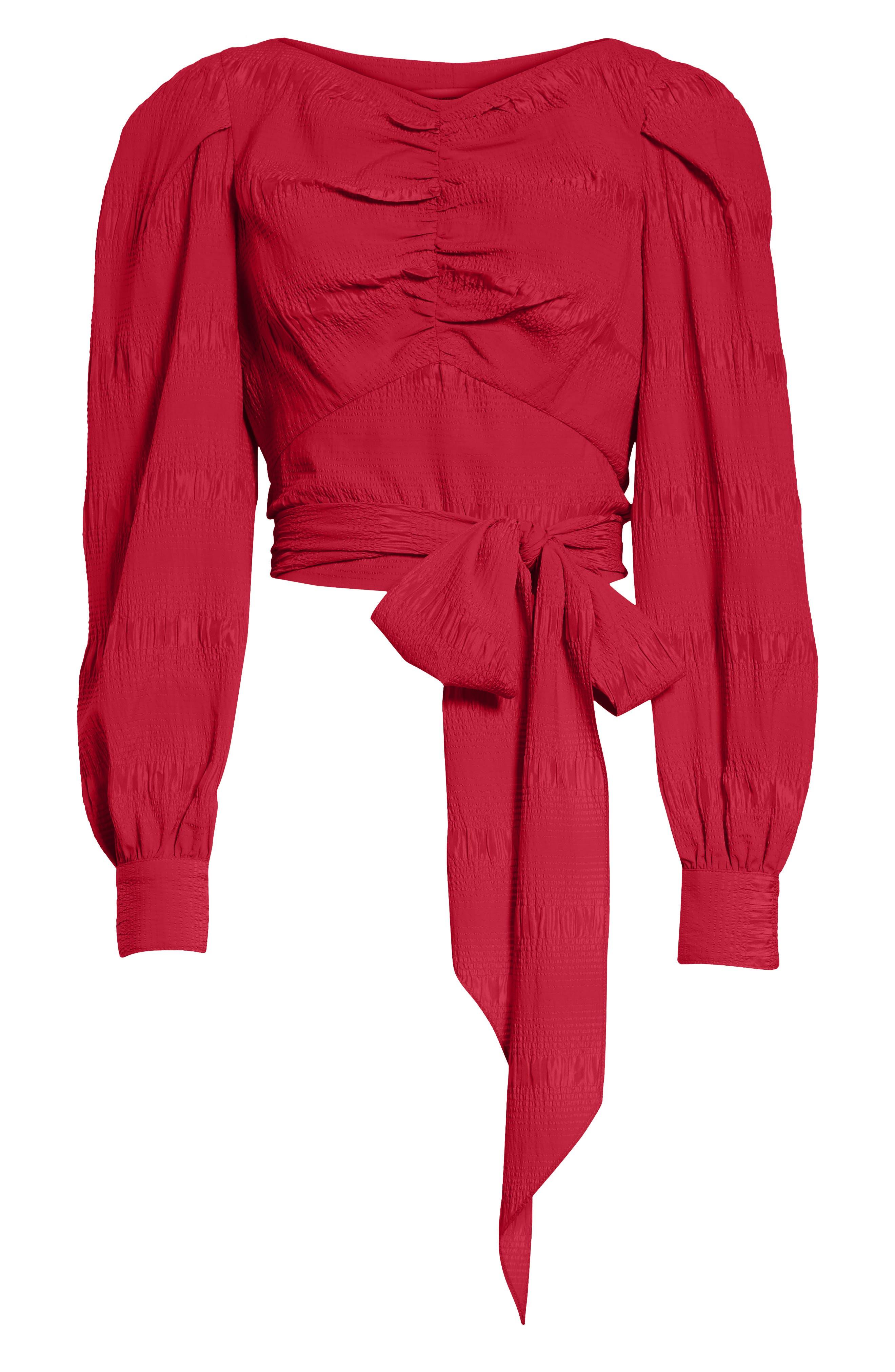 RACHEL COMEY,                             Bounds Tie Waist Silk Blend Top,                             Alternate thumbnail 6, color,                             600