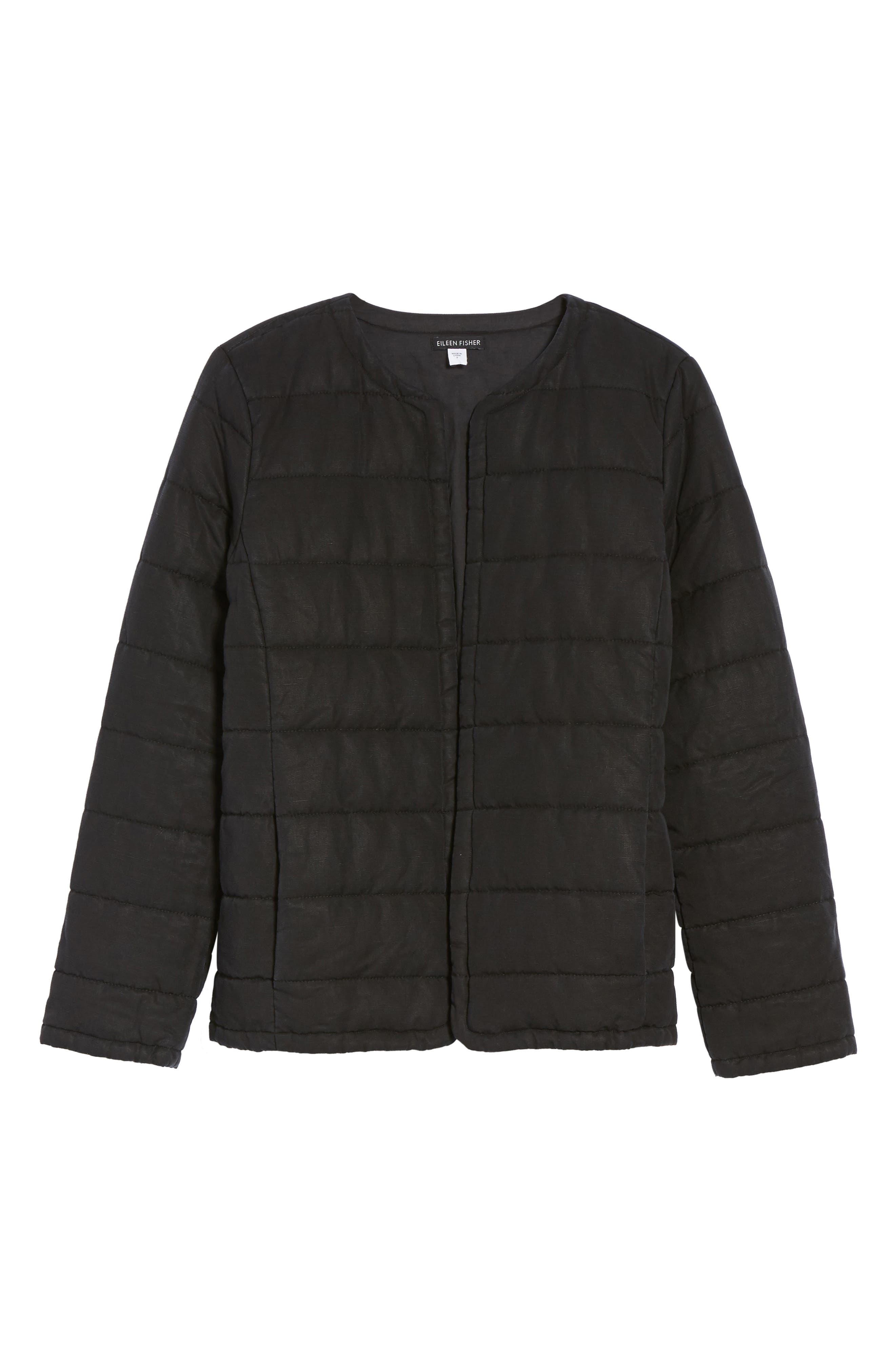 Collarless Quilted Jacket,                             Alternate thumbnail 5, color,                             001