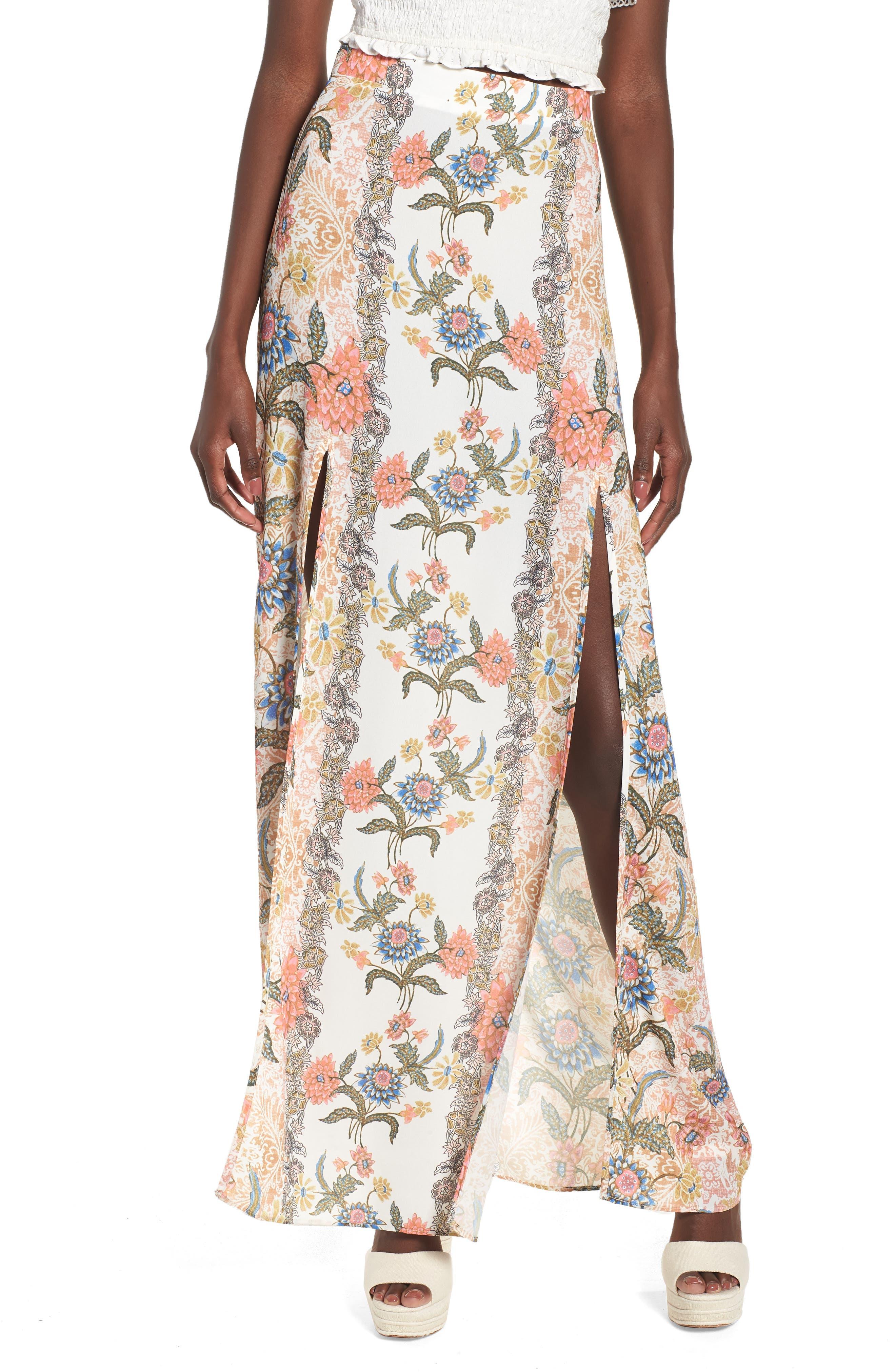 Floral Maxi Skirt,                         Main,                         color, 650