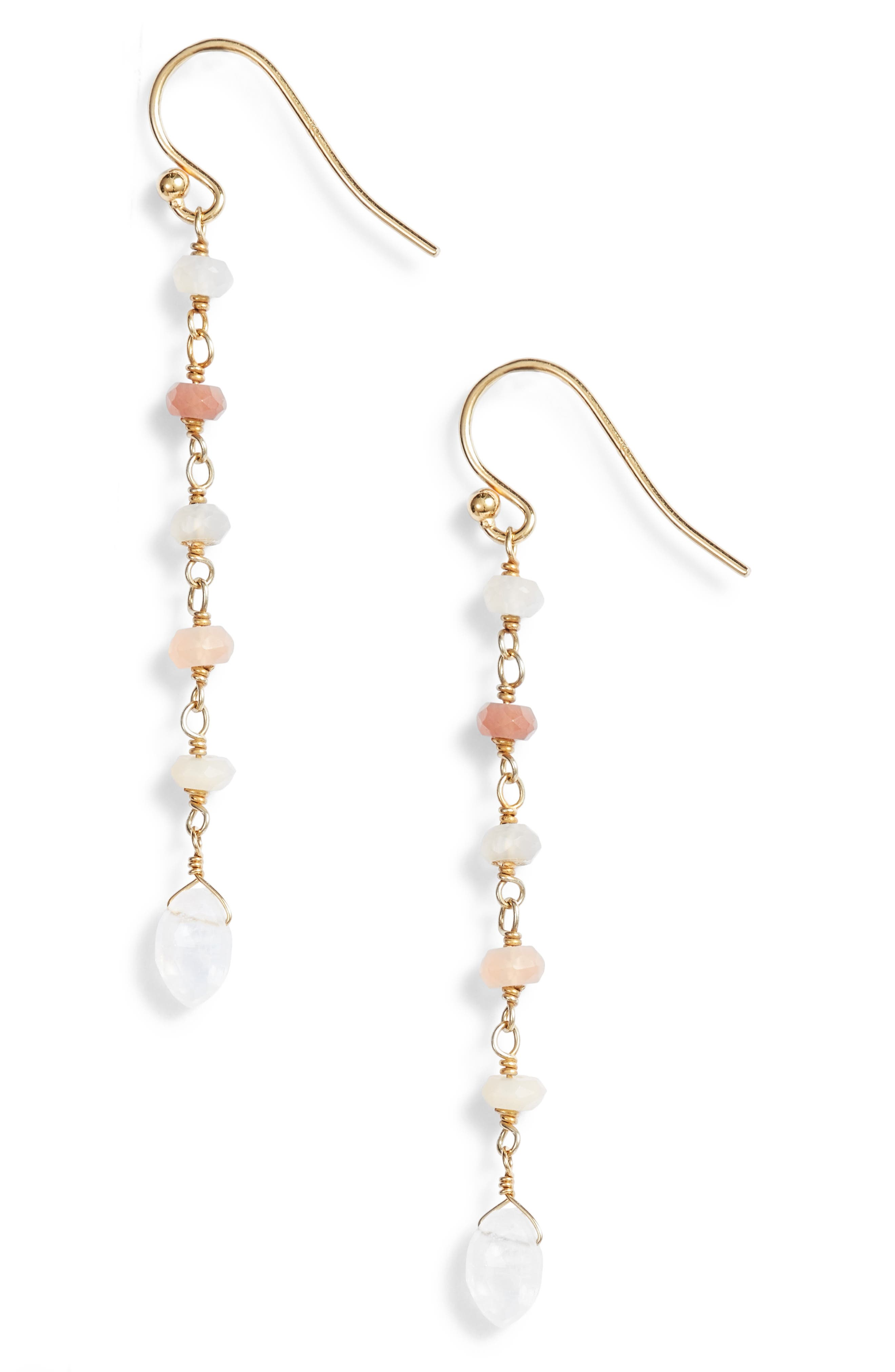 Semiprecious Stone Linear Drop Earrings,                             Main thumbnail 1, color,                             MULTI MOON DROP
