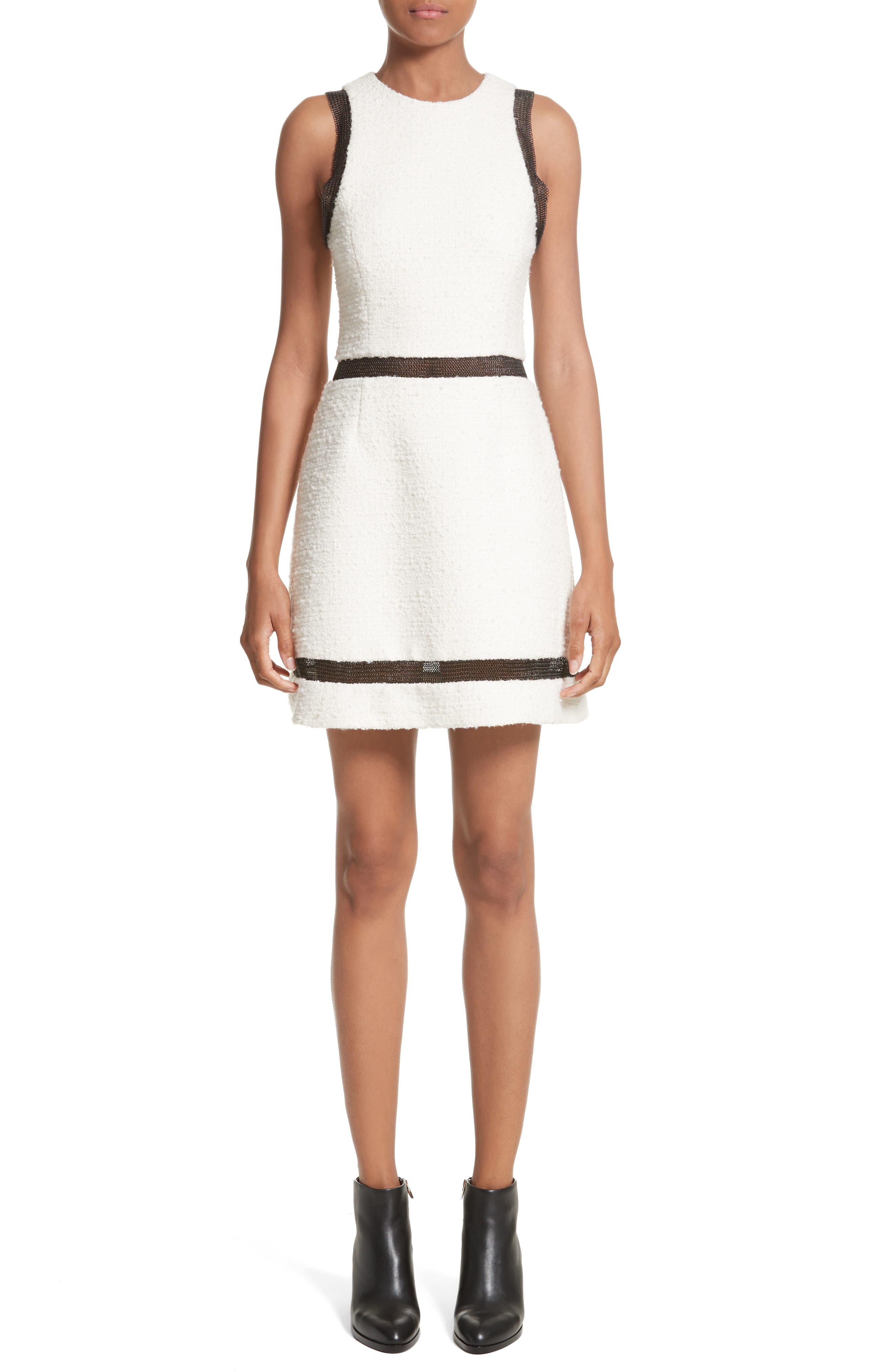 Chain Mail Trim Tweed Dress,                             Main thumbnail 1, color,                             900
