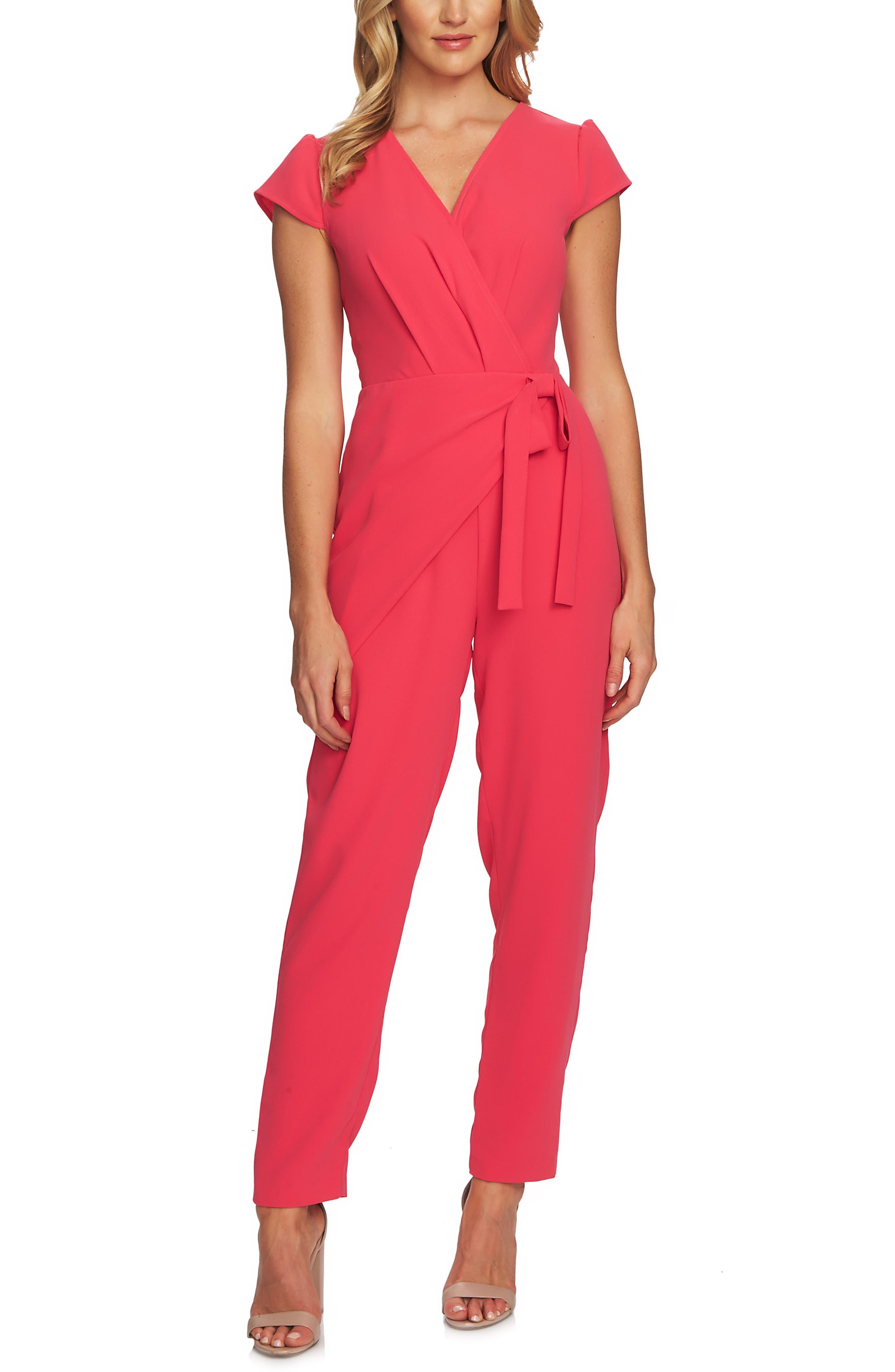 CECE Cap Sleeve Faux Wrap Jumpsuit, Main, color, 659