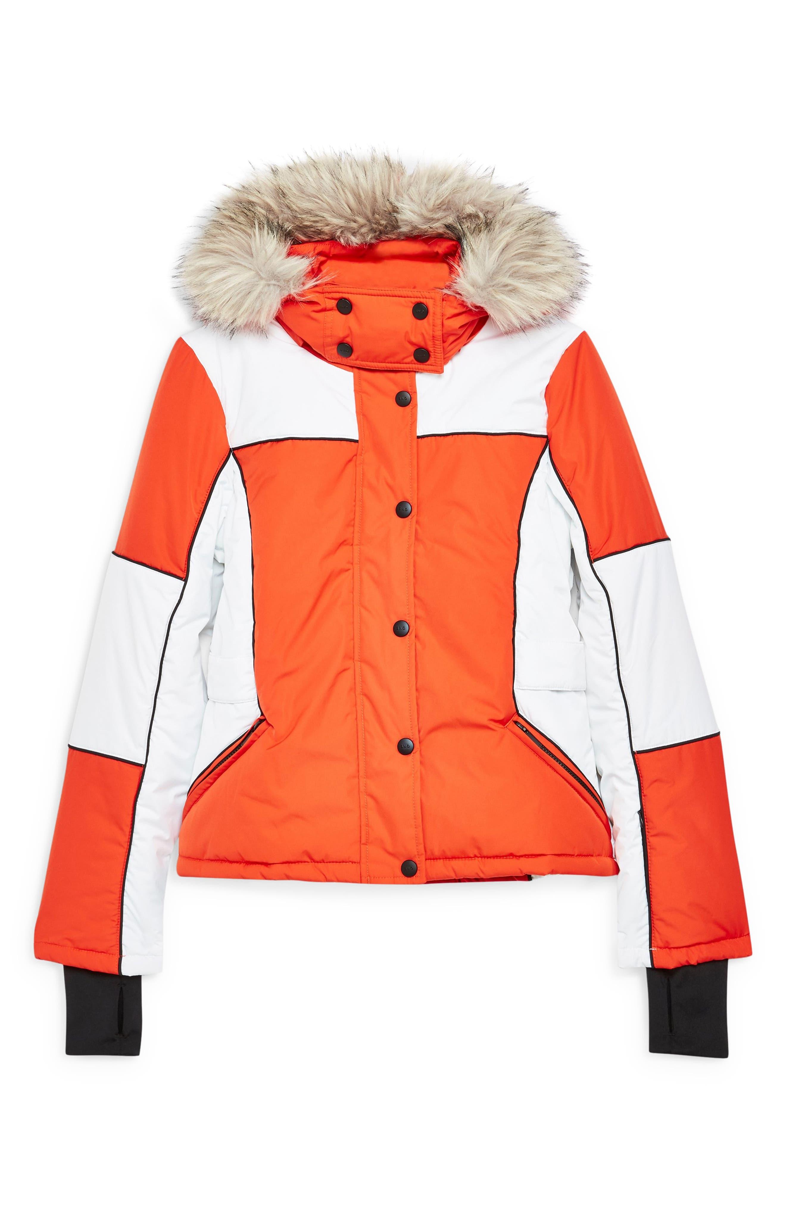 Sno Faux Fur Trim Puffer Jacket,                             Alternate thumbnail 3, color,                             ORANGE MULTI
