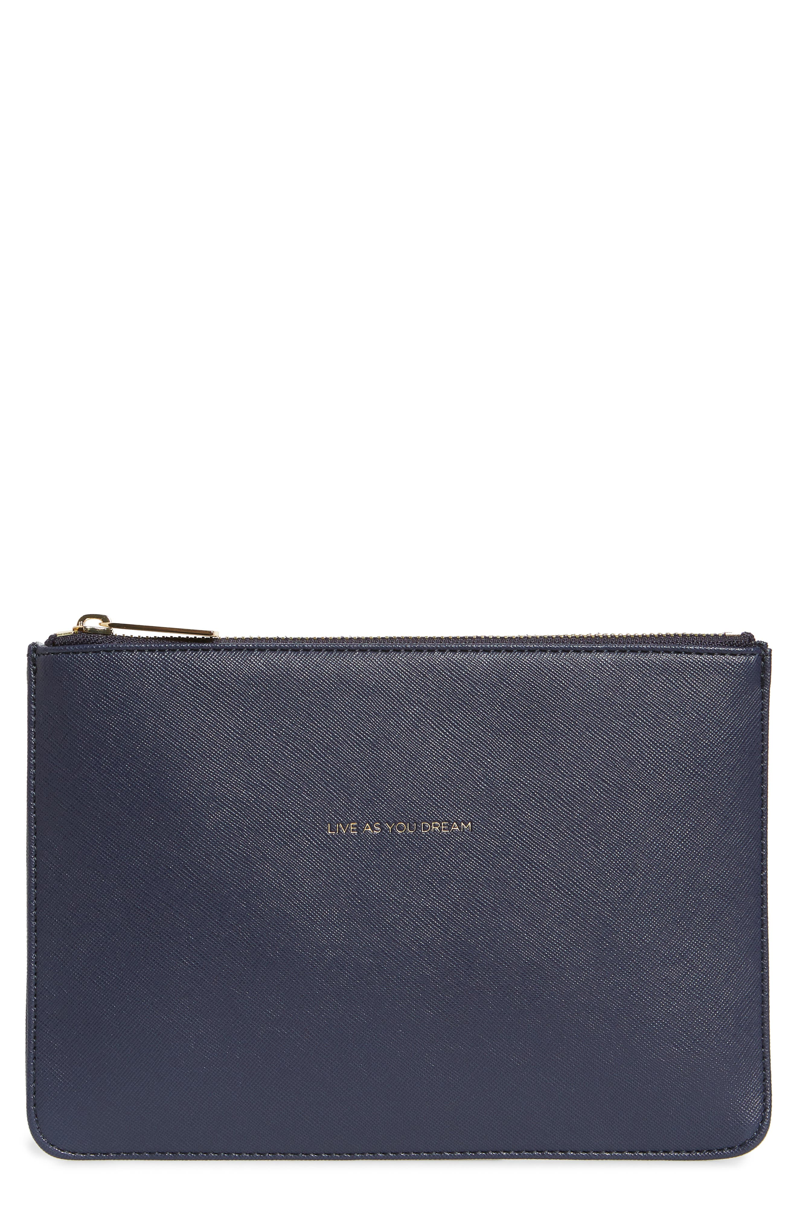 Live As You Dream Medium Faux Leather Pouch,                             Main thumbnail 1, color,                             NAVY