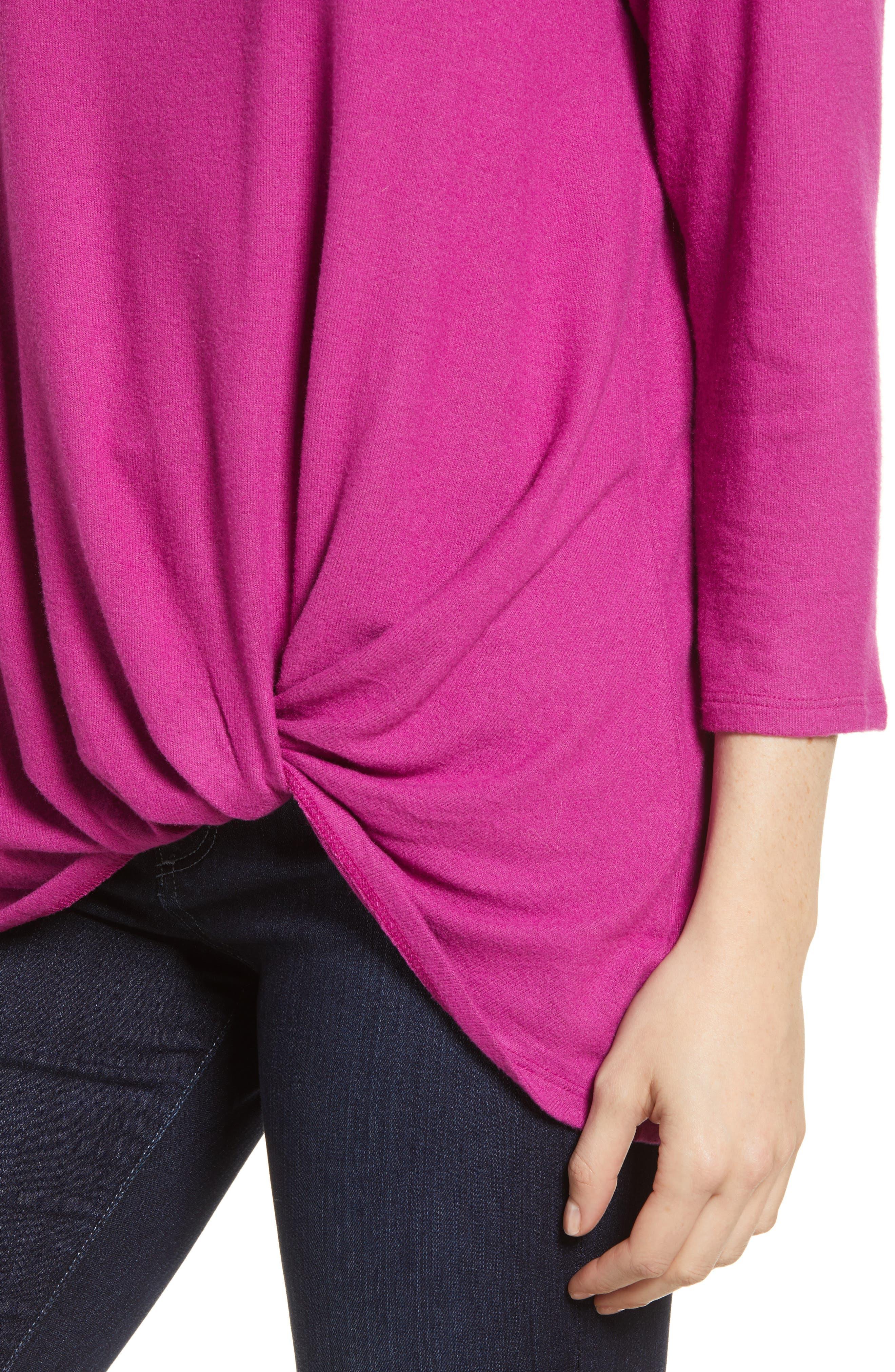 Cozy Twist Front Pullover,                             Alternate thumbnail 4, color,                             PURPLE VINTER SOLID