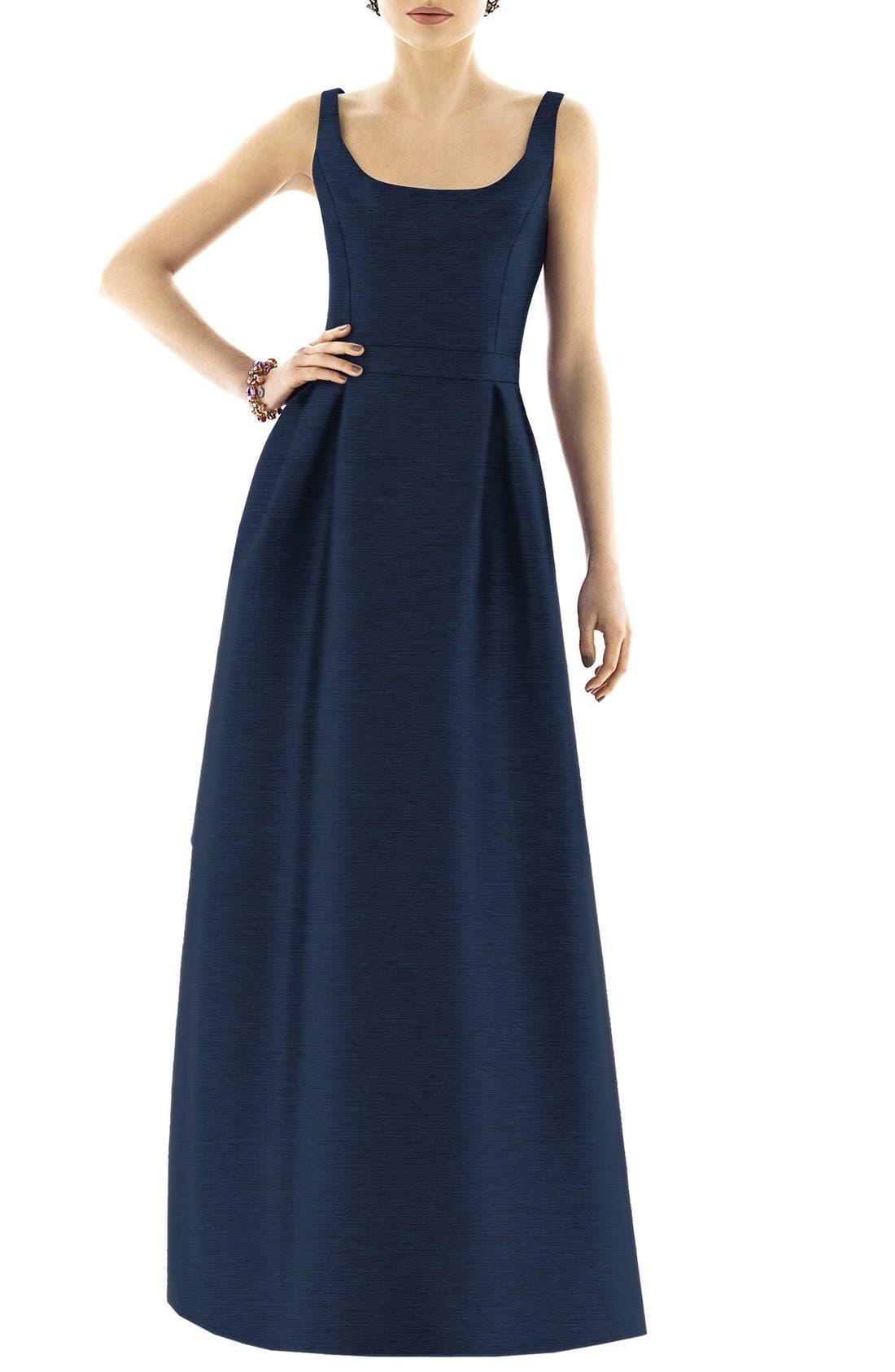 Scoop Neck Dupioni Full Length Dress,                             Alternate thumbnail 14, color,
