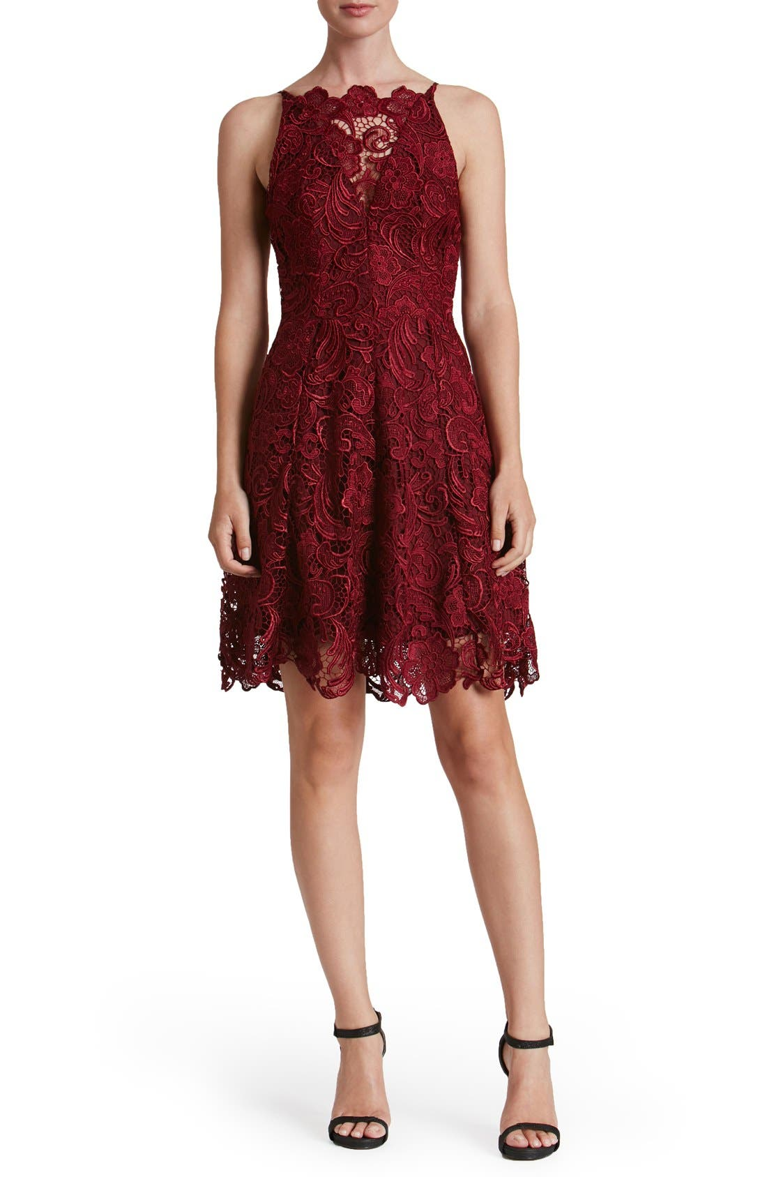 'Hayden' Lace Fit & Flare Dress,                             Alternate thumbnail 8, color,