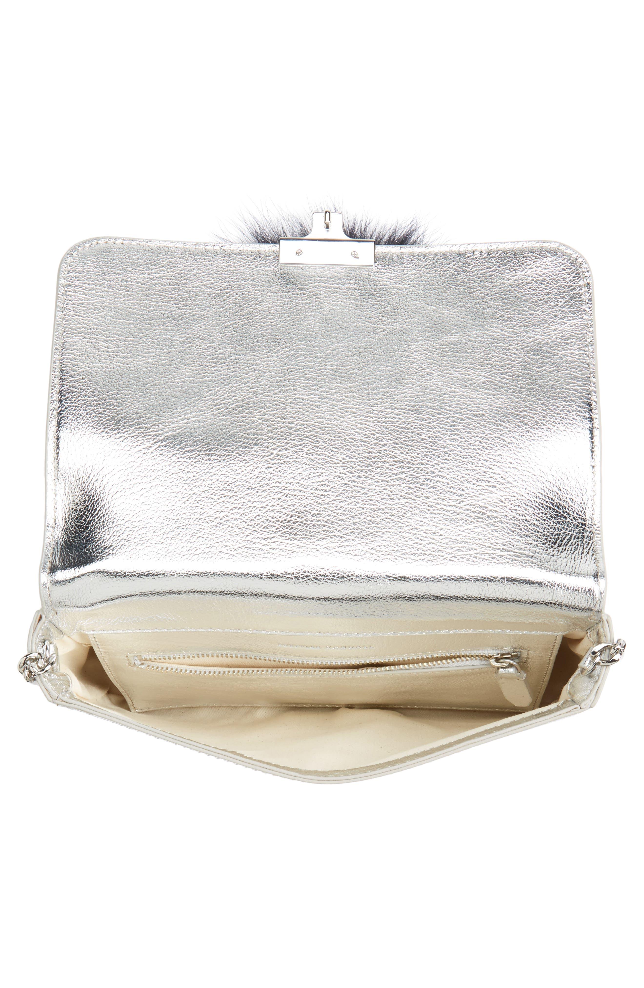 Lock Genuine Fox Fur Shoulder Bag,                             Alternate thumbnail 4, color,                             049