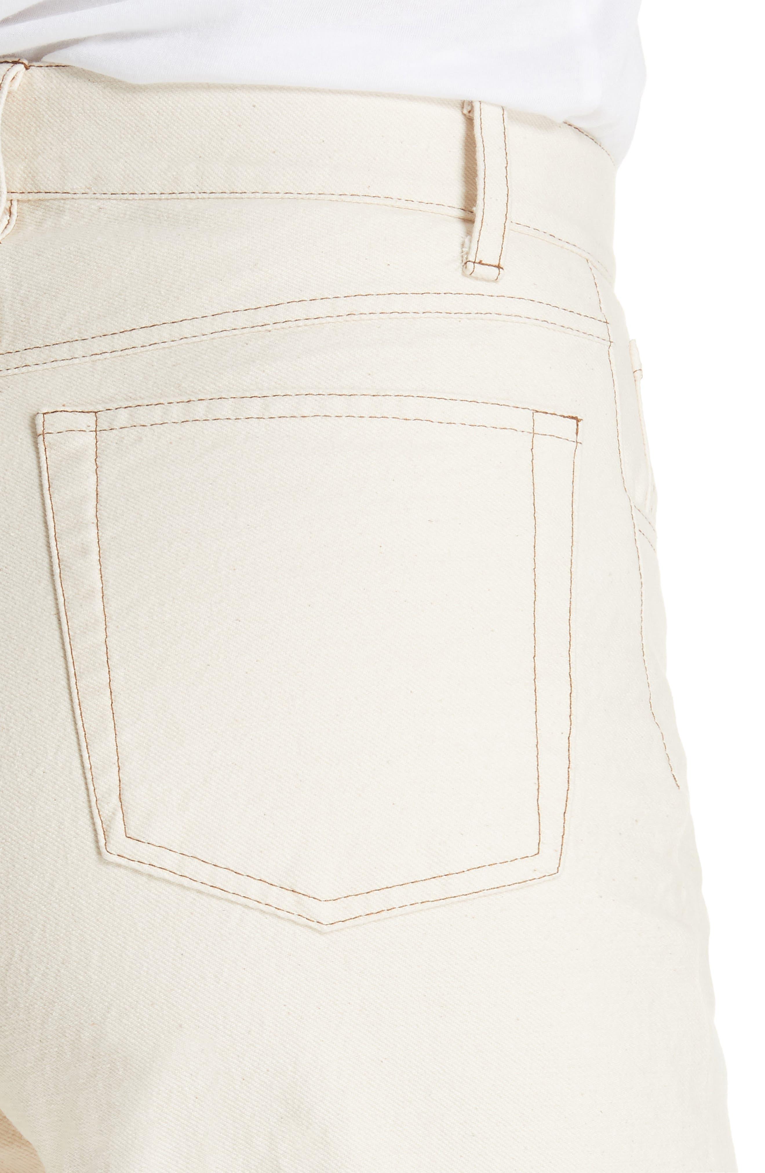 Rupa Ankle Straight Leg Jeans,                             Alternate thumbnail 4, color,                             CREME