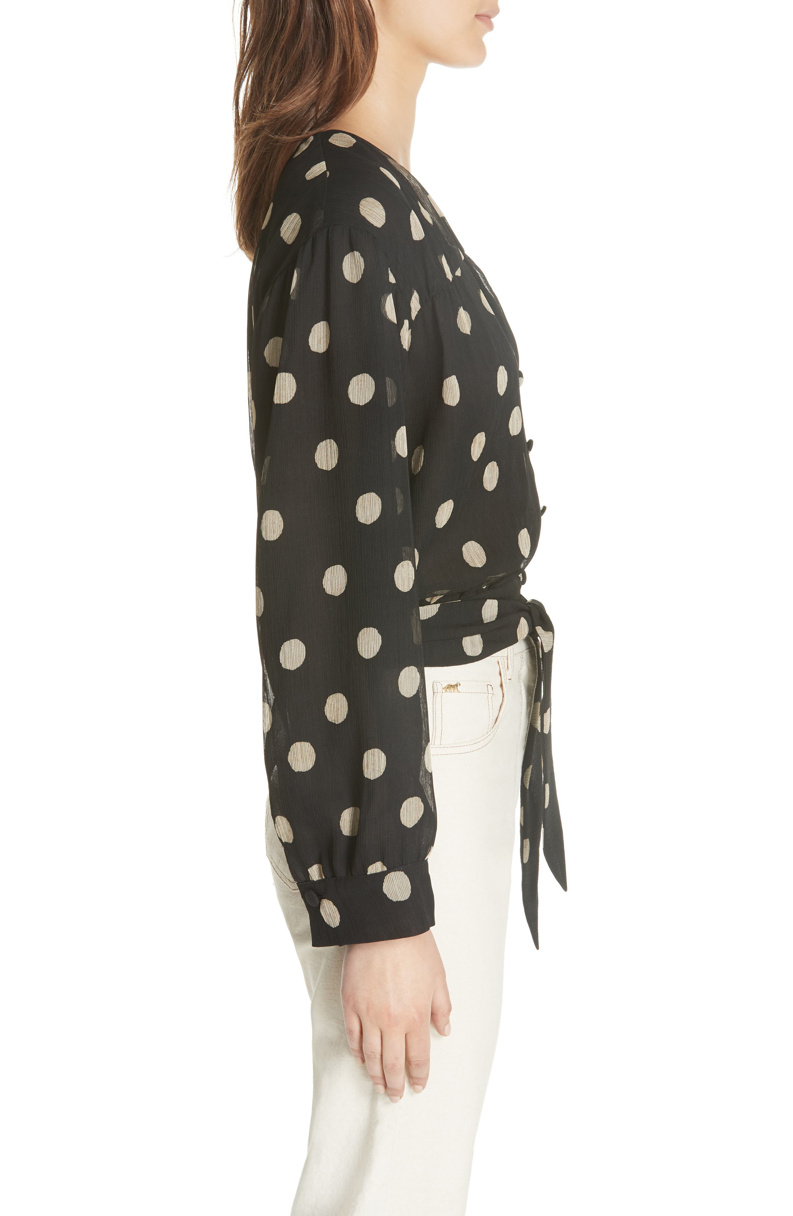 NANUSHKA,                             Amulet Polka Dot Tech Chiffon Blouse,                             Alternate thumbnail 3, color,                             001