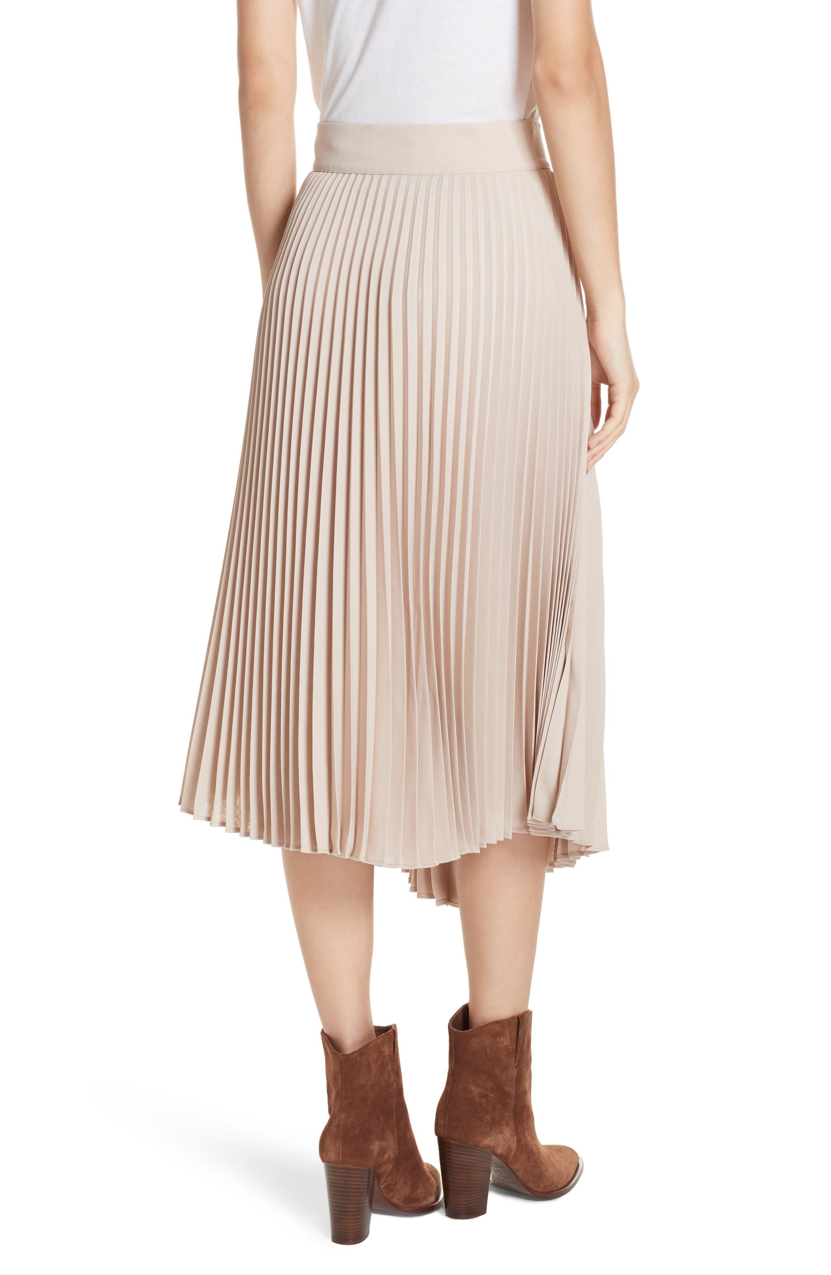 Asymmetric Hem Pleated Skirt,                             Alternate thumbnail 2, color,                             STONEWARE