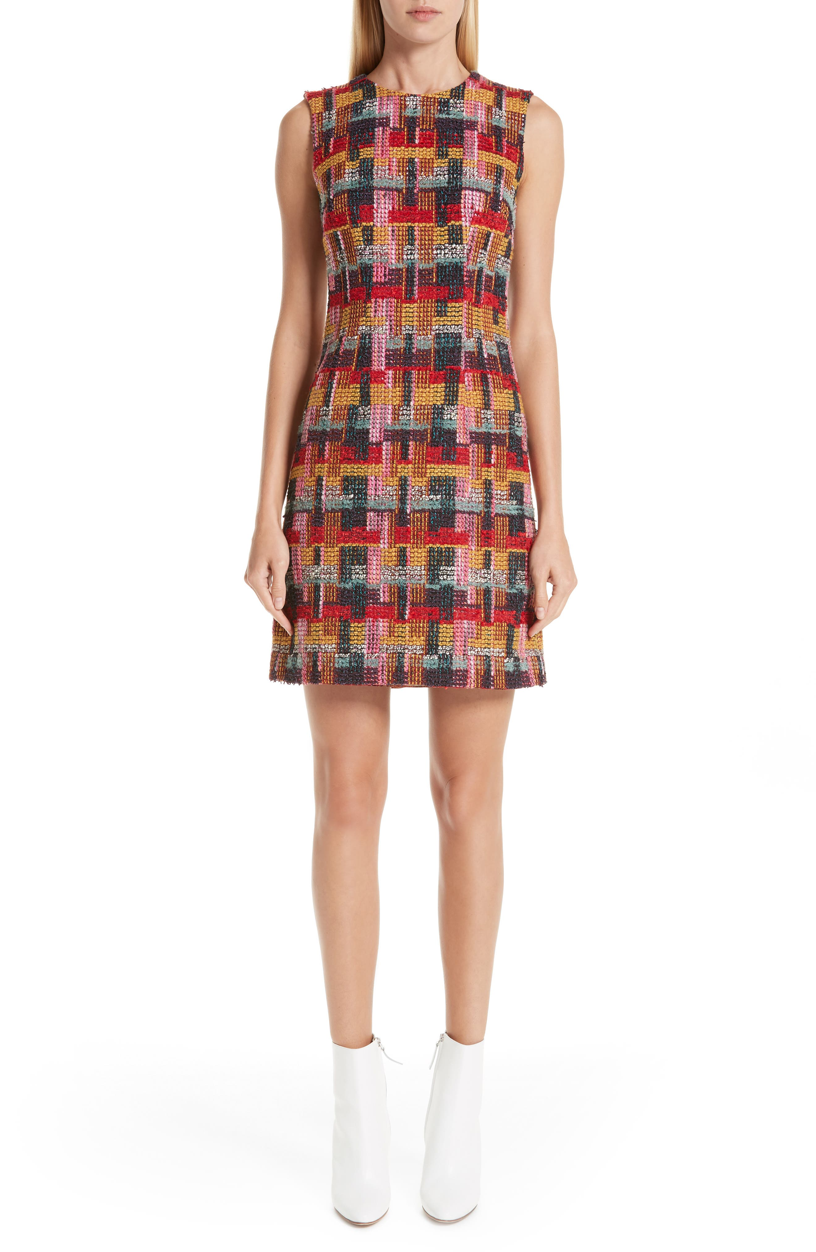 Multicolor Tweed Sheath Dress,                             Main thumbnail 1, color,                             RED
