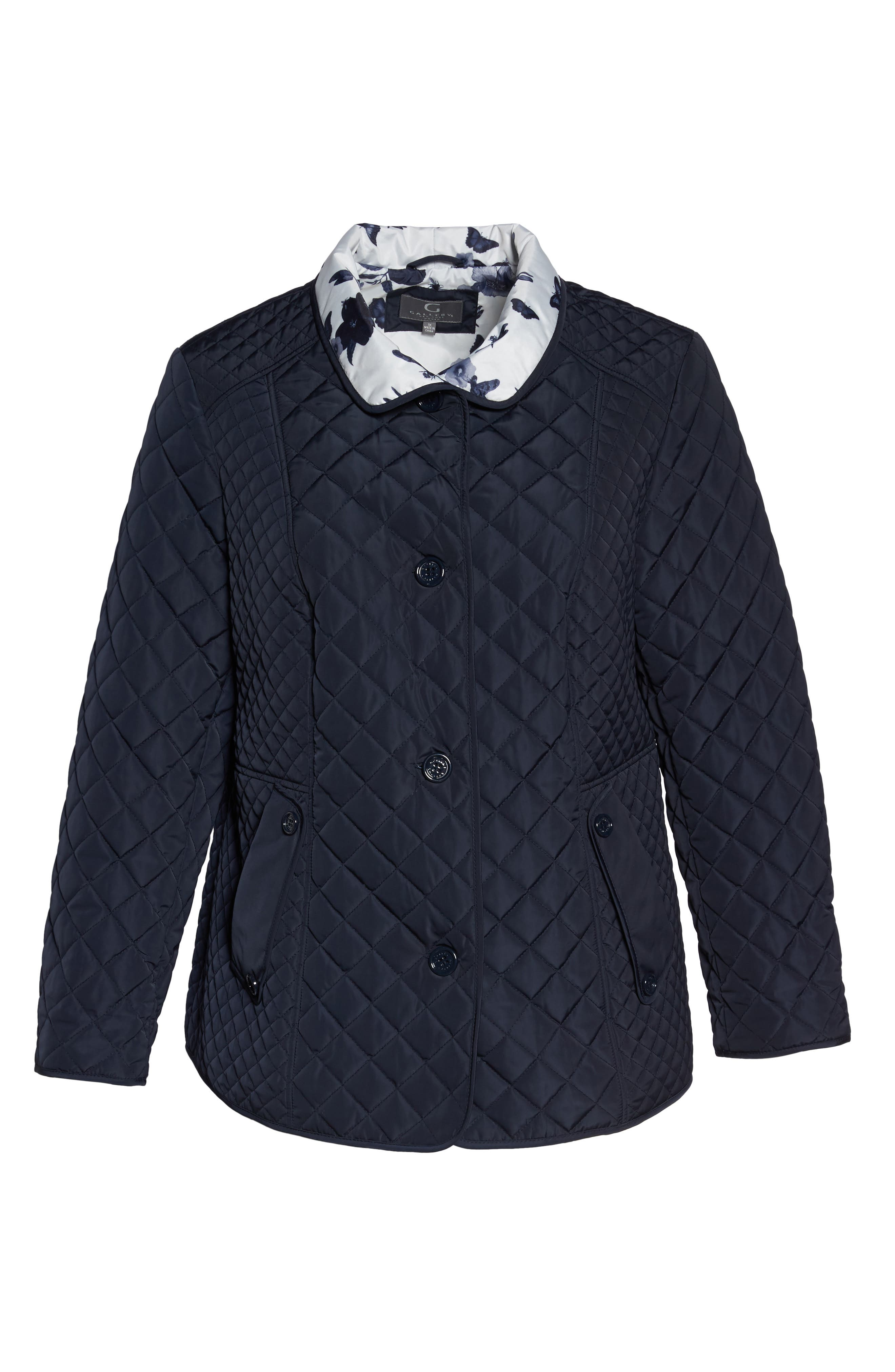 Print Collar Quilted Jacket,                             Alternate thumbnail 5, color,                             410