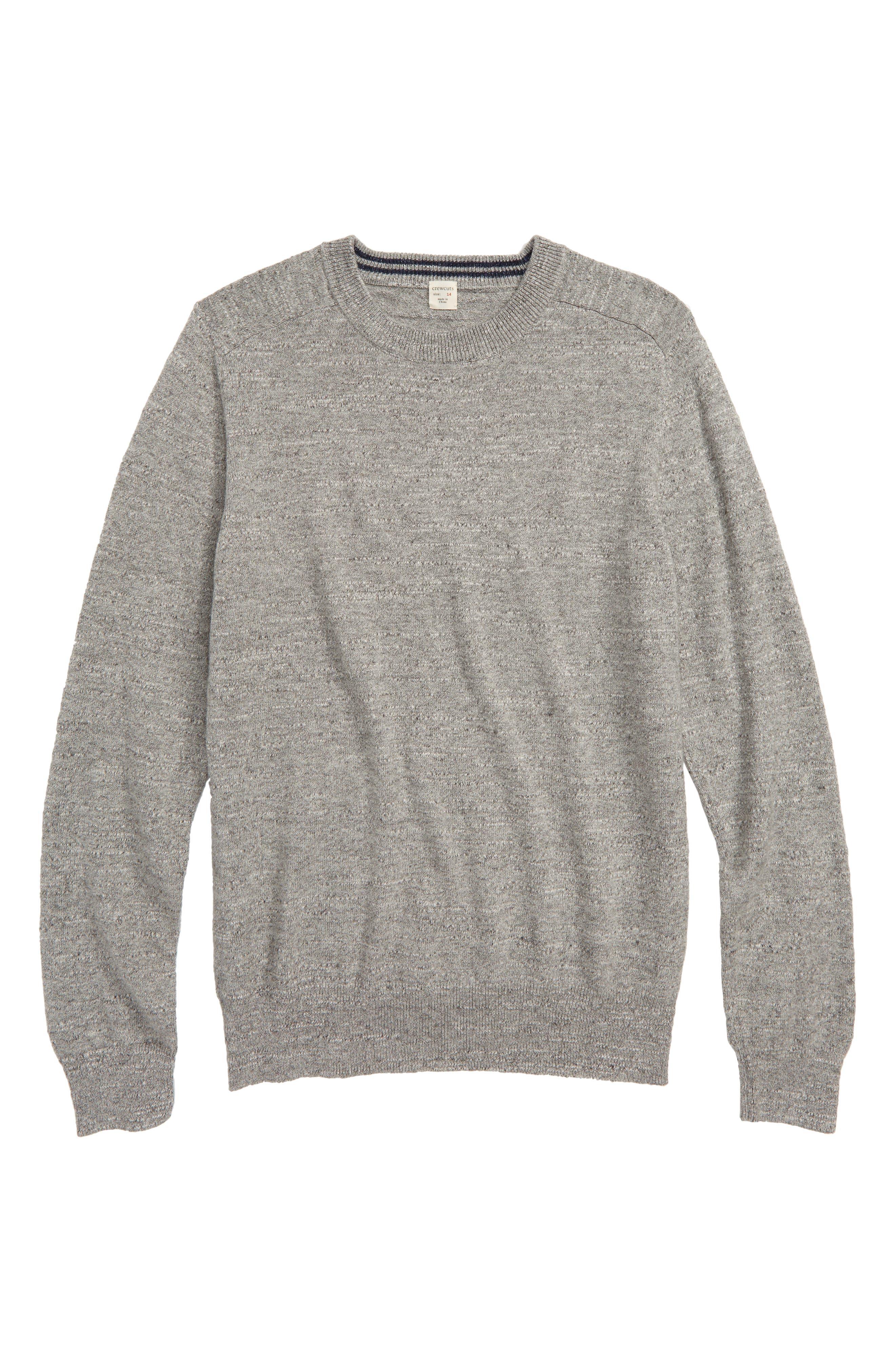 Cotton Crewneck Sweater,                             Main thumbnail 1, color,                             HEATHER GREY INDIGO
