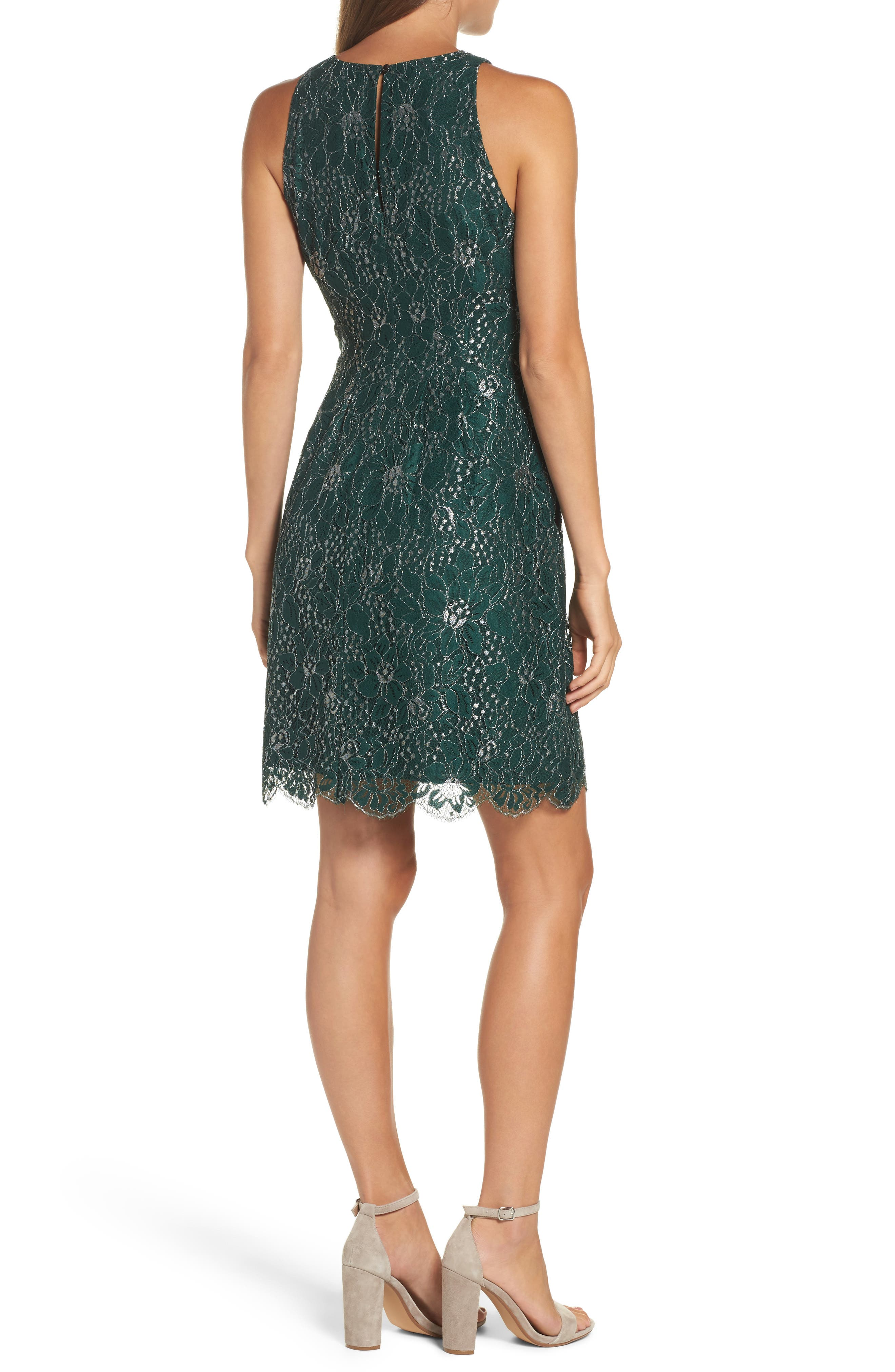 Metallic Lace Fit & Flare Dress,                             Alternate thumbnail 2, color,                             310