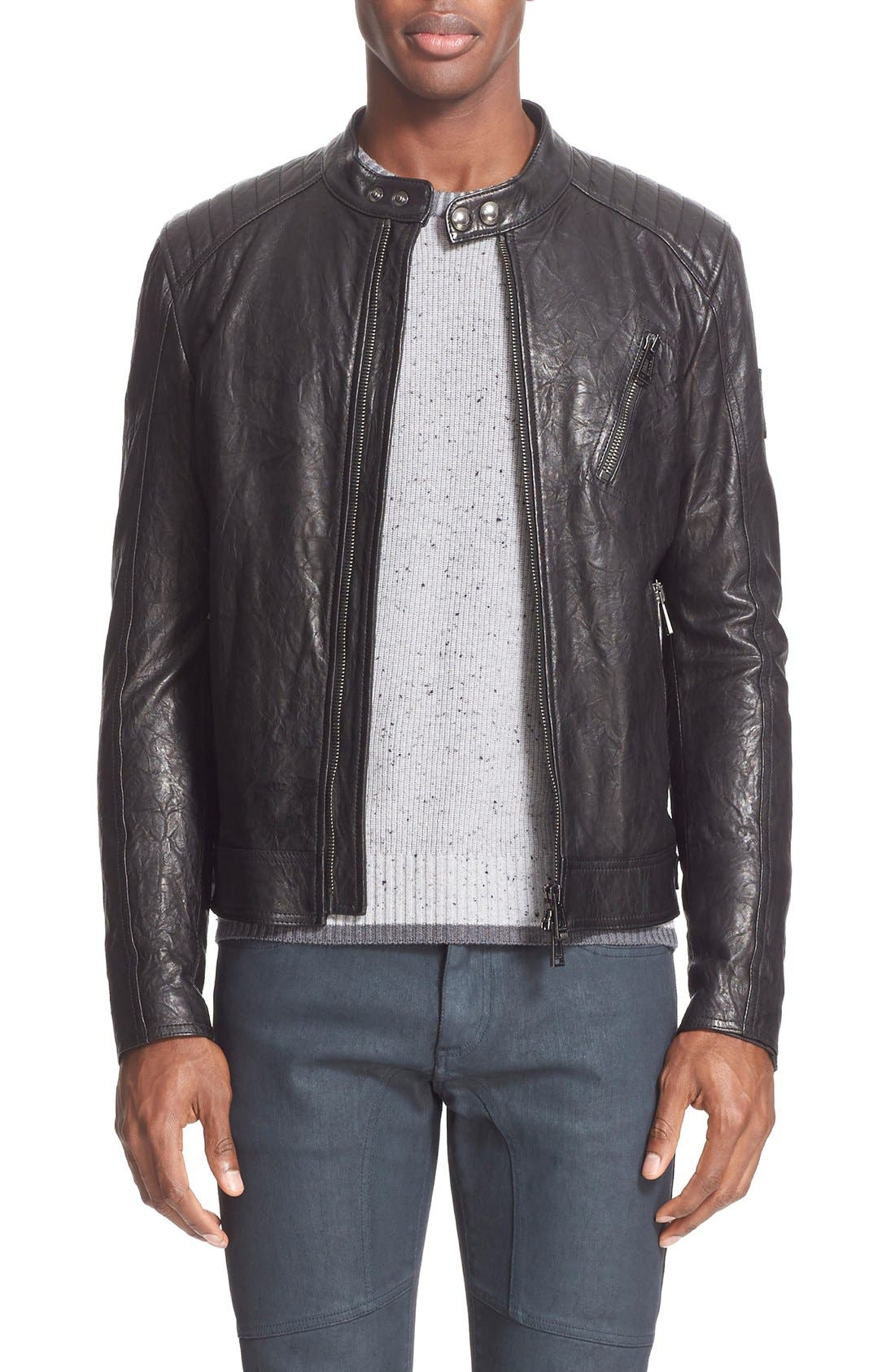 'K Racer' Tumbled Leather Moto Jacket, Main, color, 001