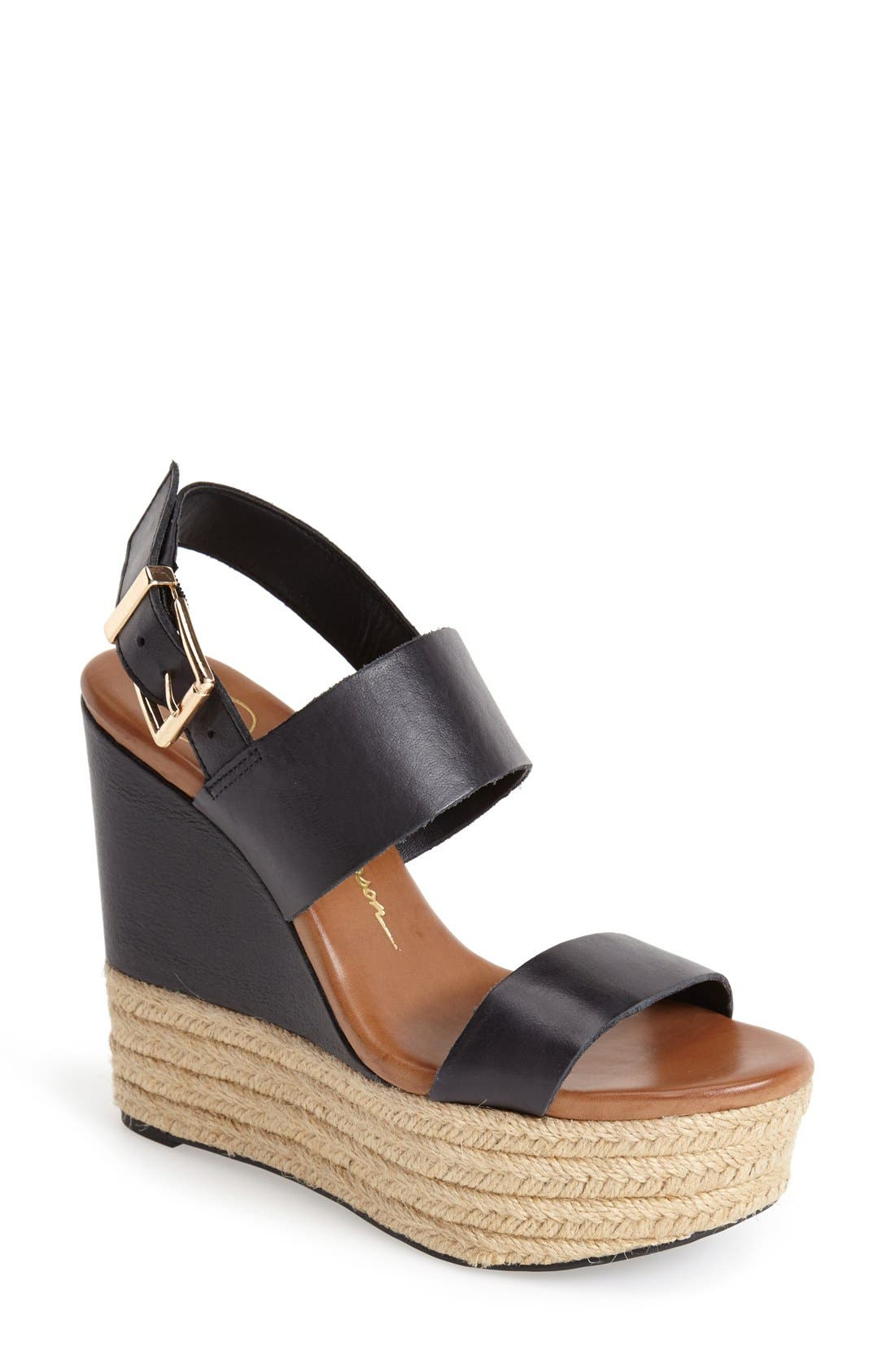 'Allyn' Wedge Platform Leather Sandal,                             Main thumbnail 1, color,                             001