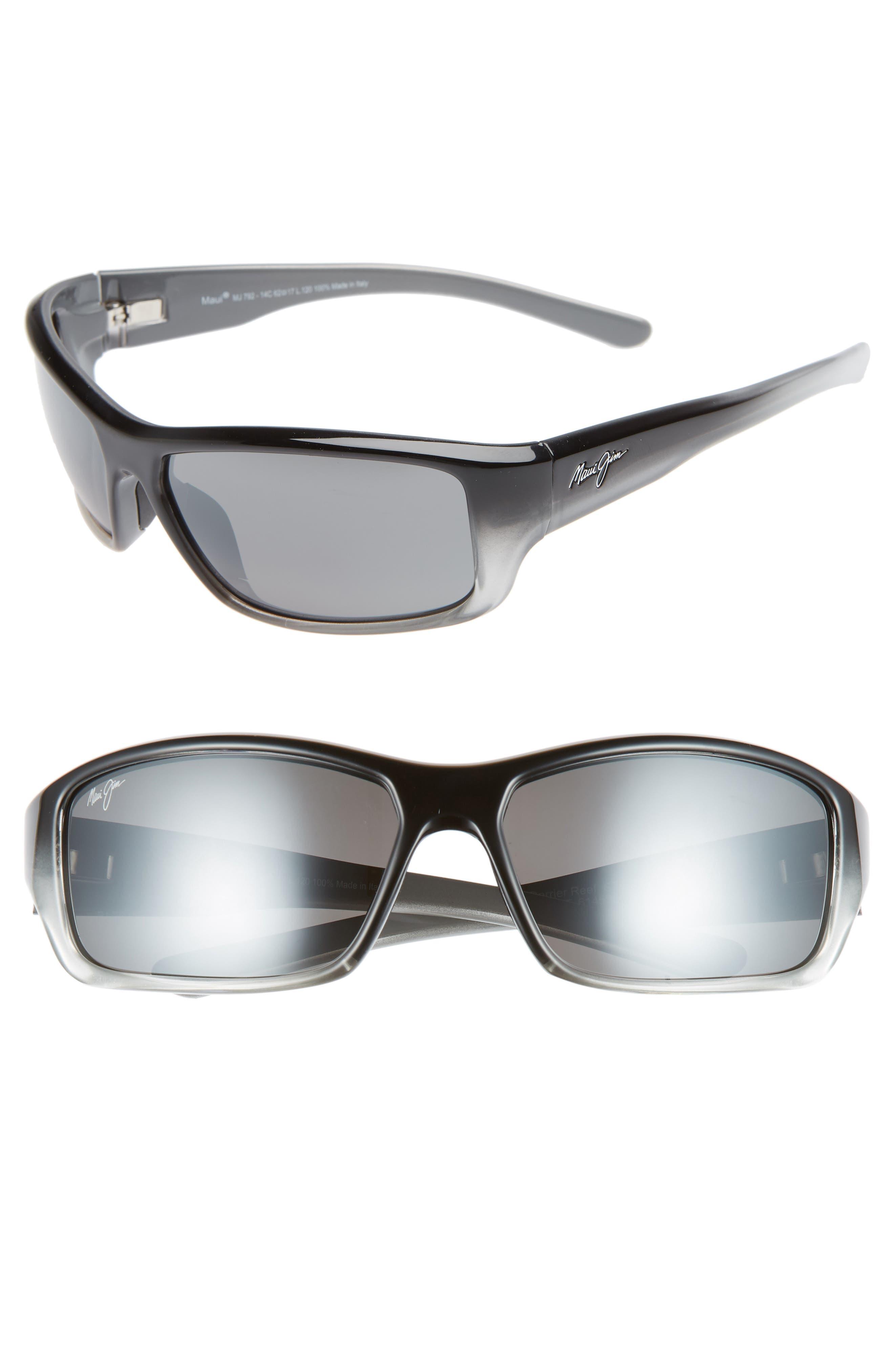 MAUI JIM Barrier Reef 62mm PolarizedPlus2<sup>®</sup> Sunglasses, Main, color, BLACK/ GREY